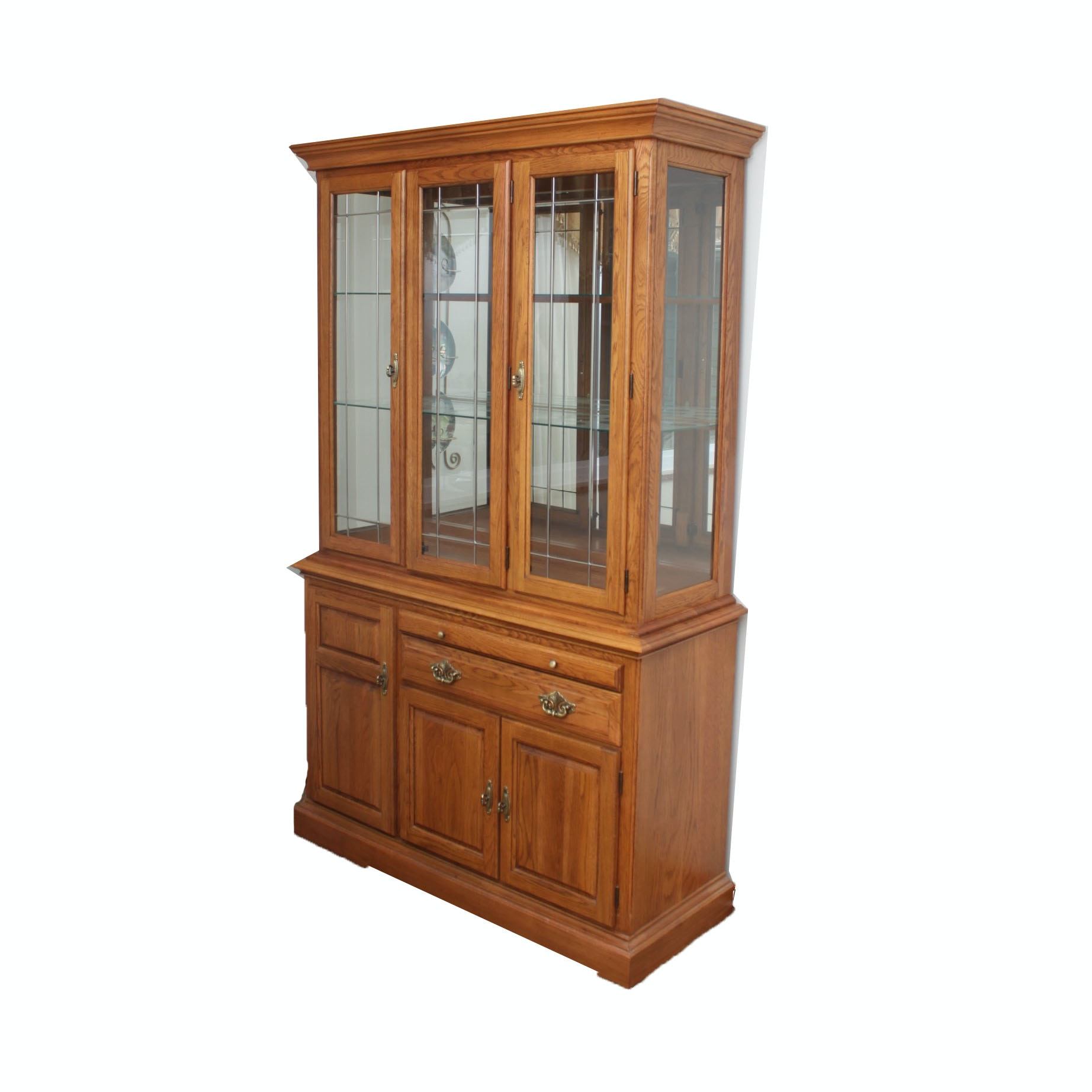 Traditional Oak China Cabinet by Cochrane