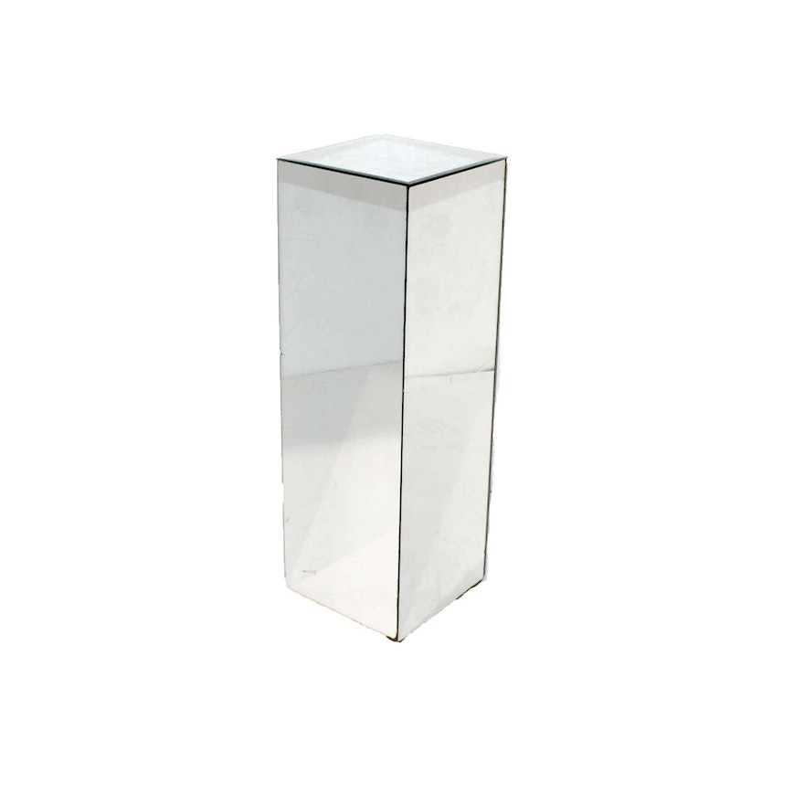 Square Mirrored Pedestal Or Plant Stand