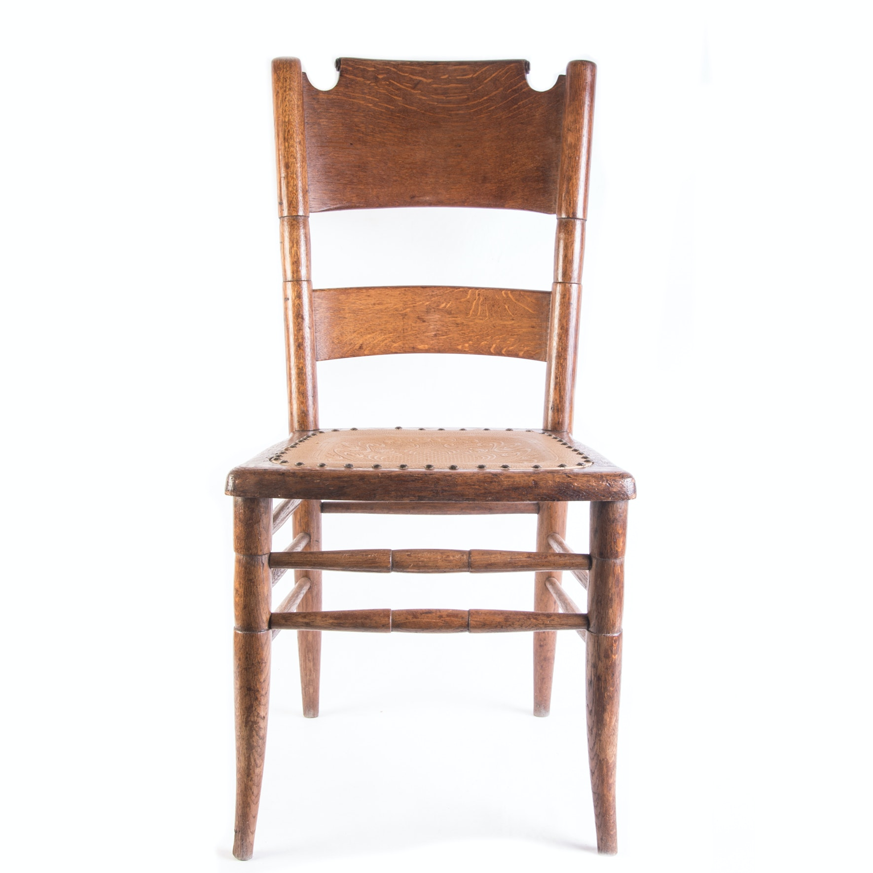 Vintage Side Chair with Tooled Leather Seat