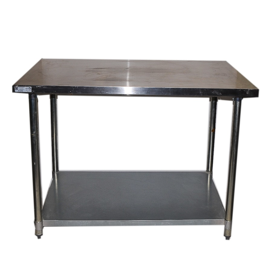 Culinary Stainless Steel Flat Top X Work Table EBTH - Stainless steel work table 30 x 48