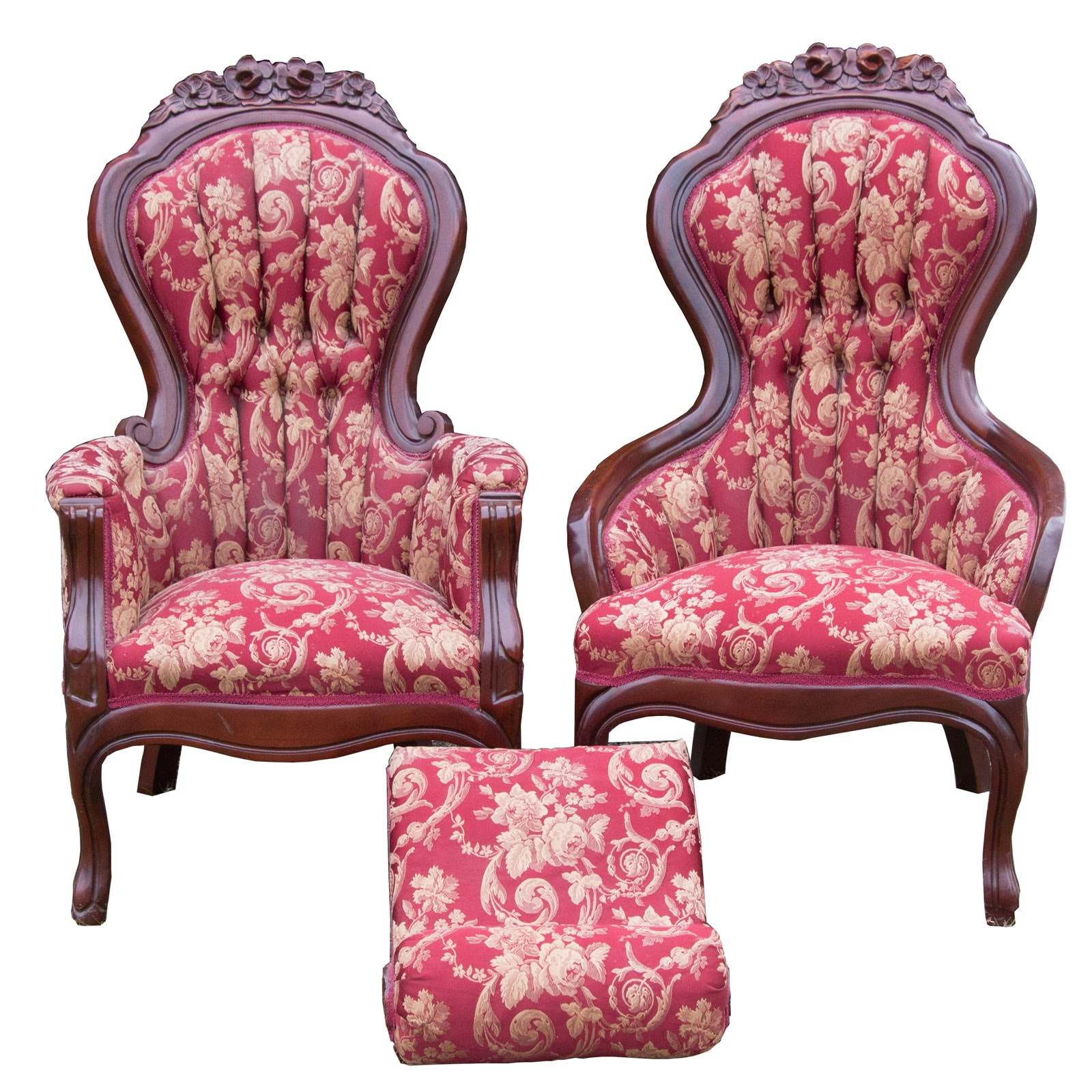Two Victorian Style Mahogany Arm Chairs