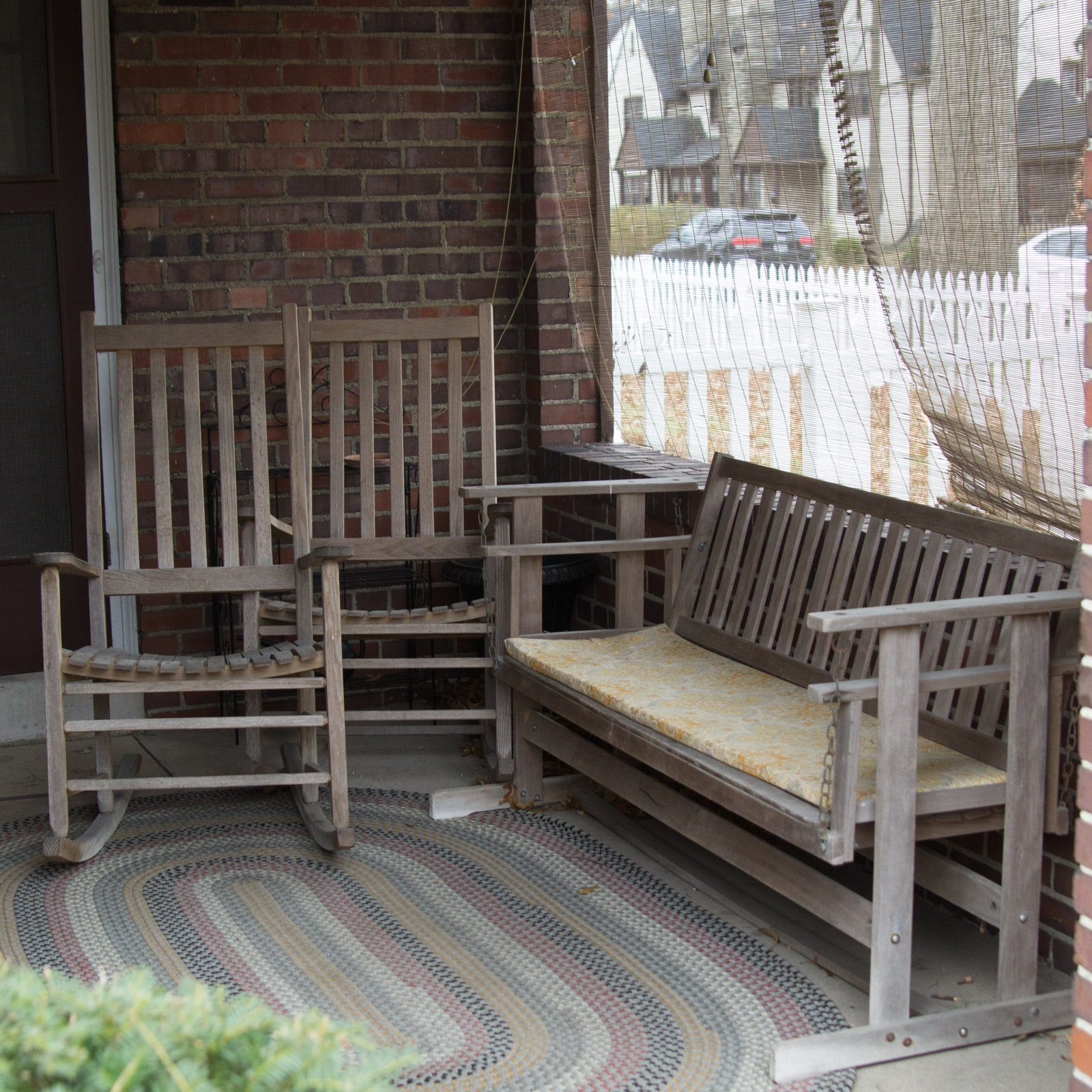 Three Pieces of Wooden Porch Furniture