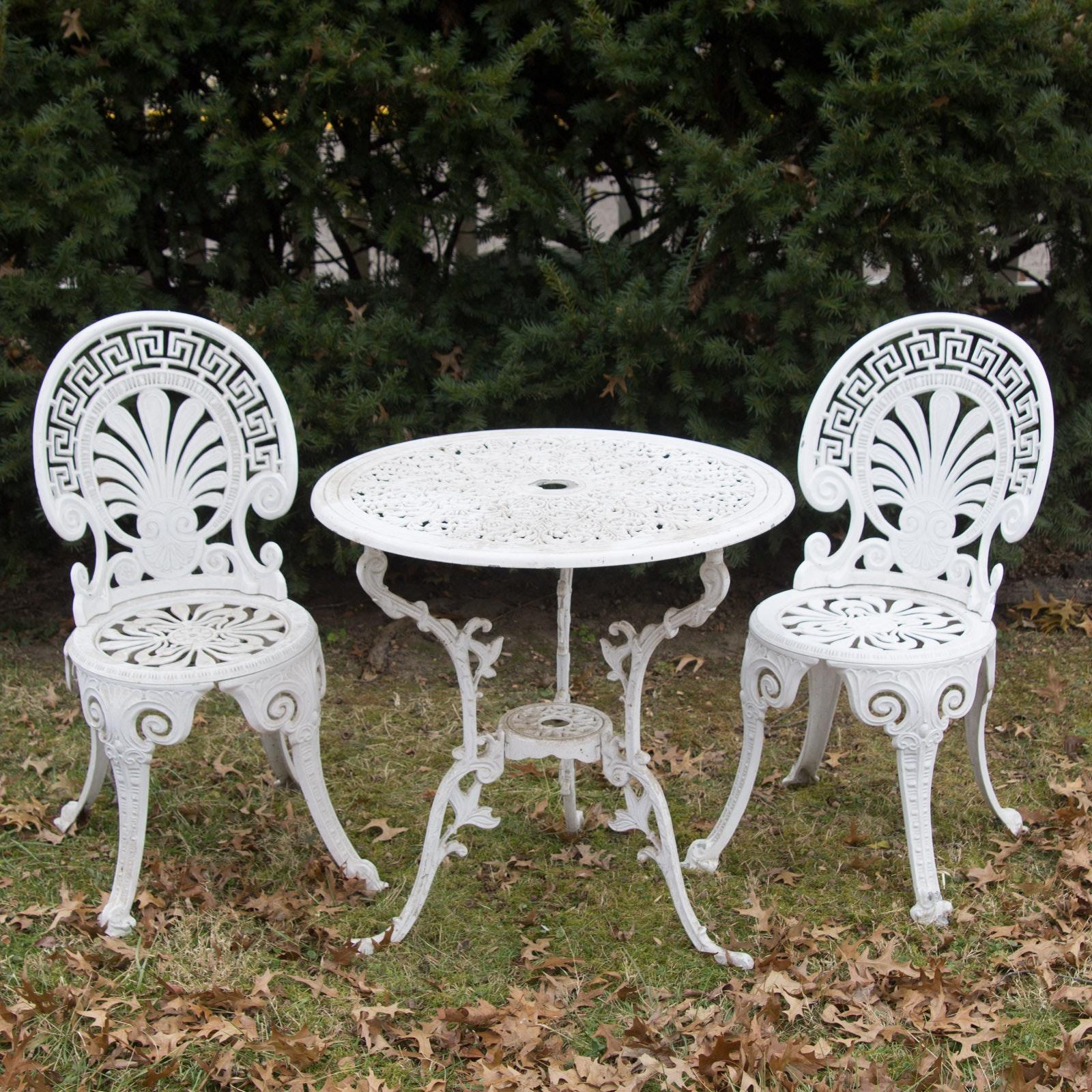White cast iron patio furniture Vintage Shabby White Cast Metal Patio Furniture Ebthcom White Cast Metal Patio Furniture Ebth