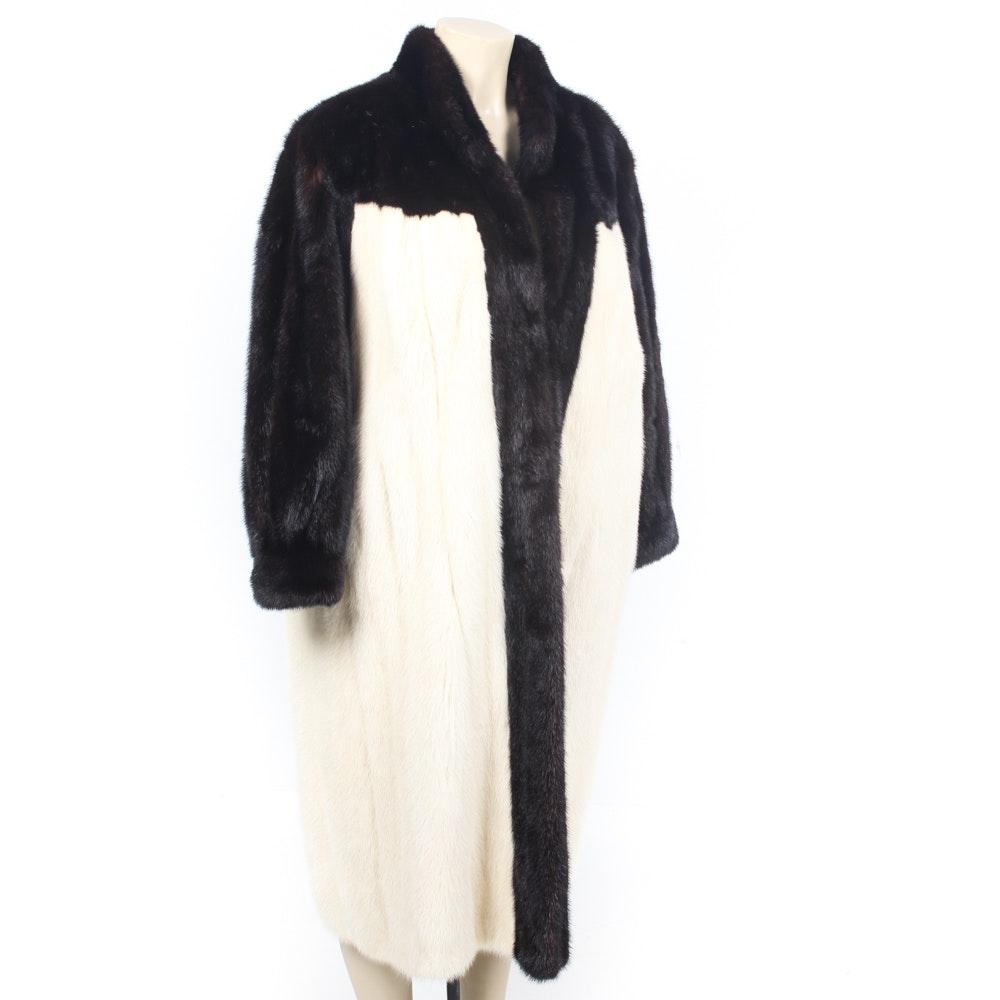 Vintage Black and White Mink Fur Coat