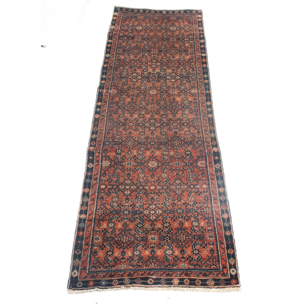 Vintage Hand-Knotted Persian Lilihan Sarouk Rug Runner