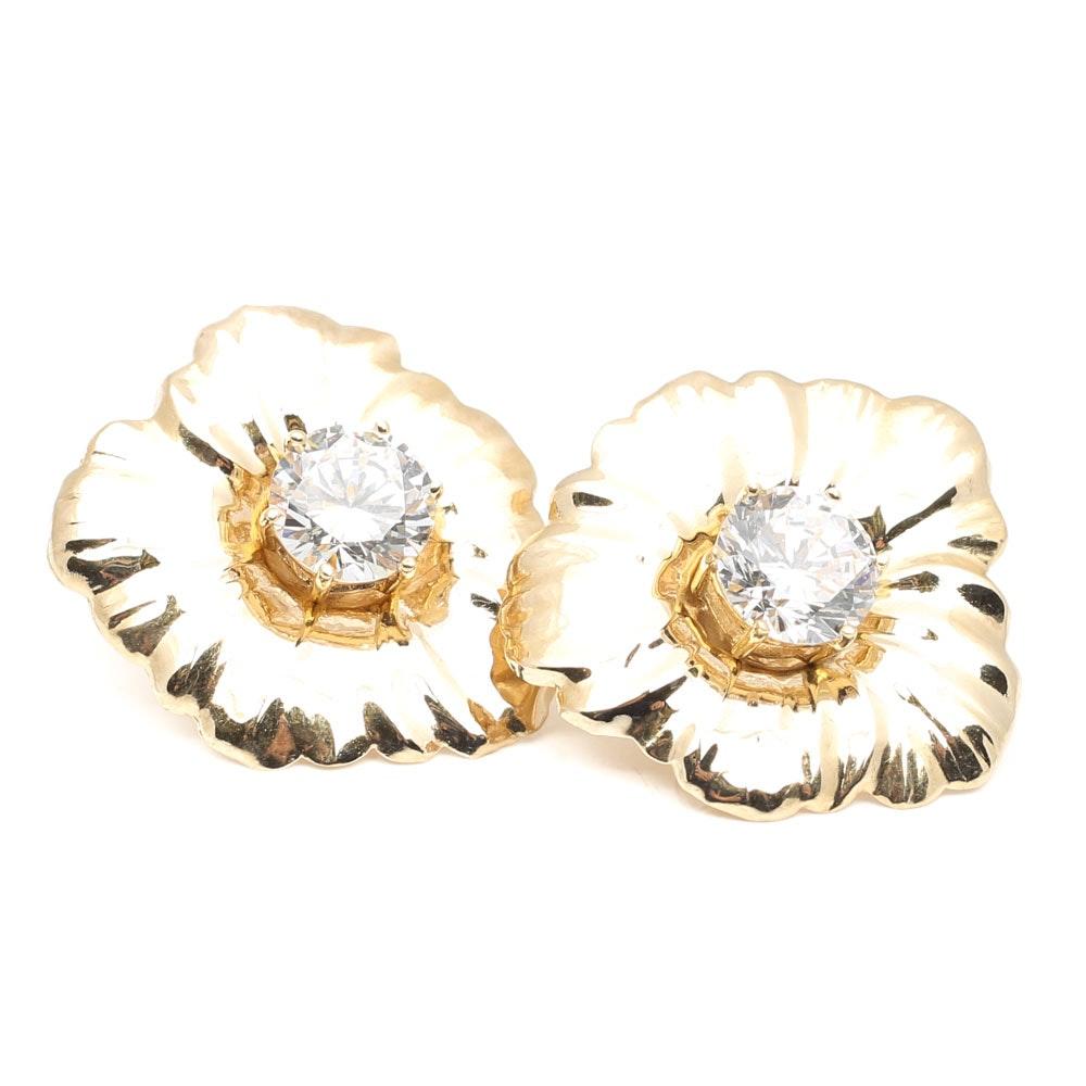 14K Yellow Gold Cubic Zirconia Stud Earrings and Petal Earring Jackets