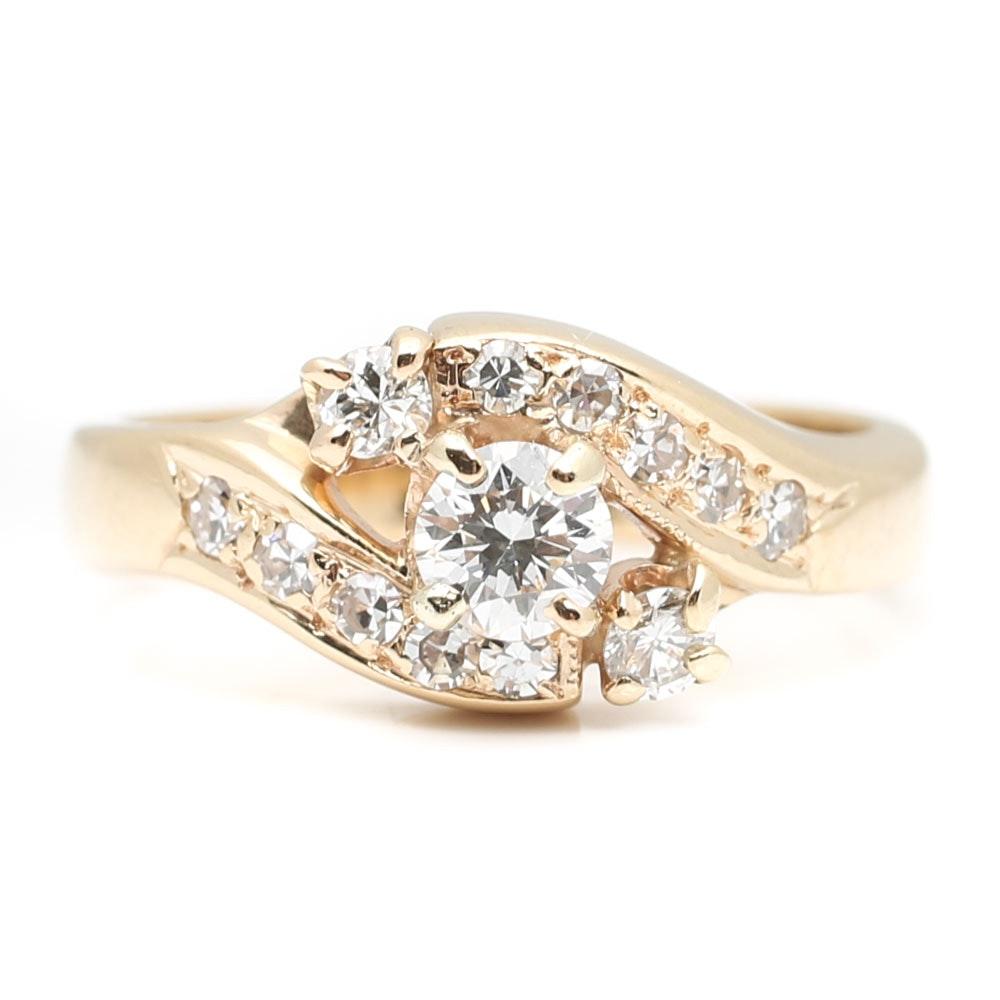 14K Yellow Gold Round Diamond Bypass Ring