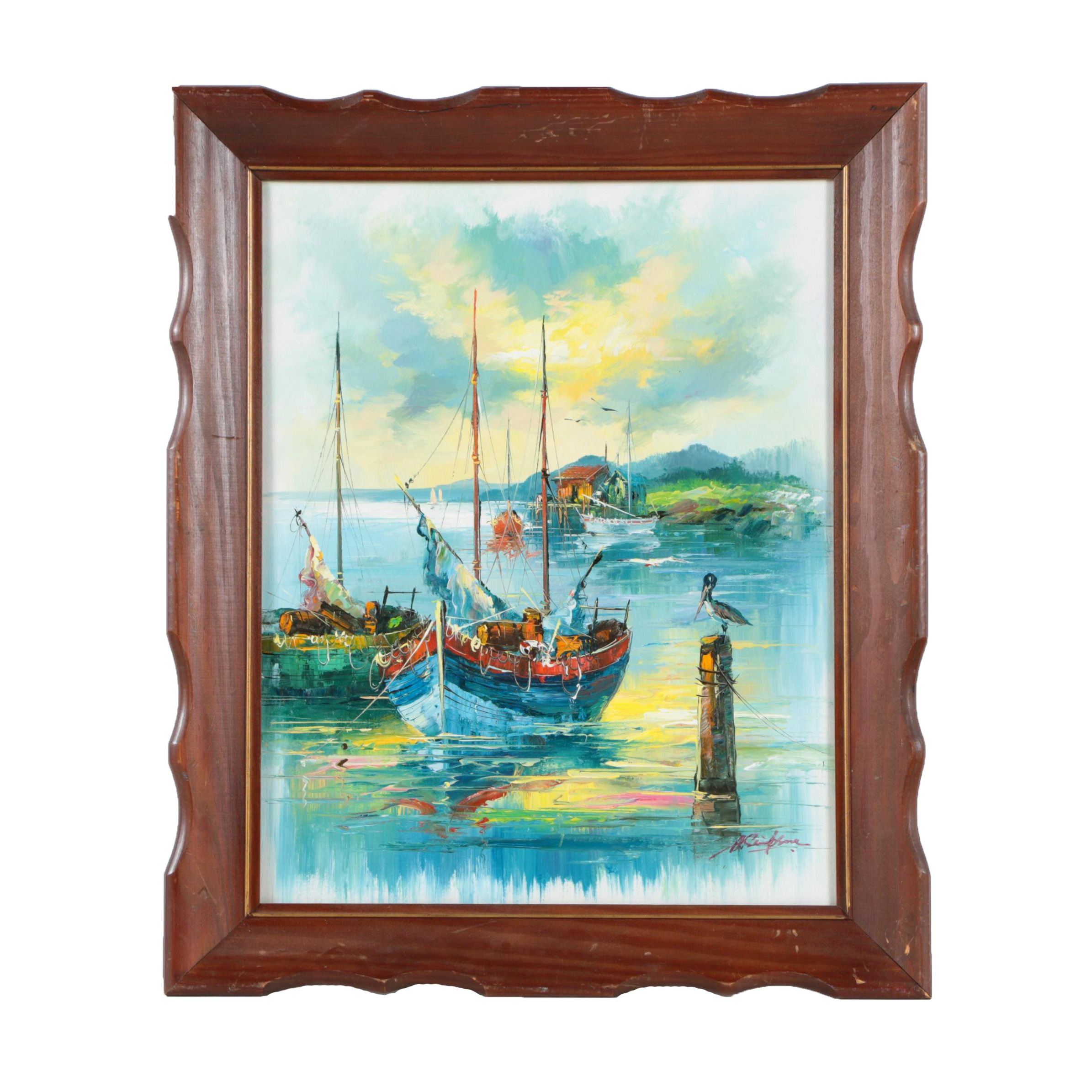 A. Simpson Oil Painting on Canvas of Ship Scene