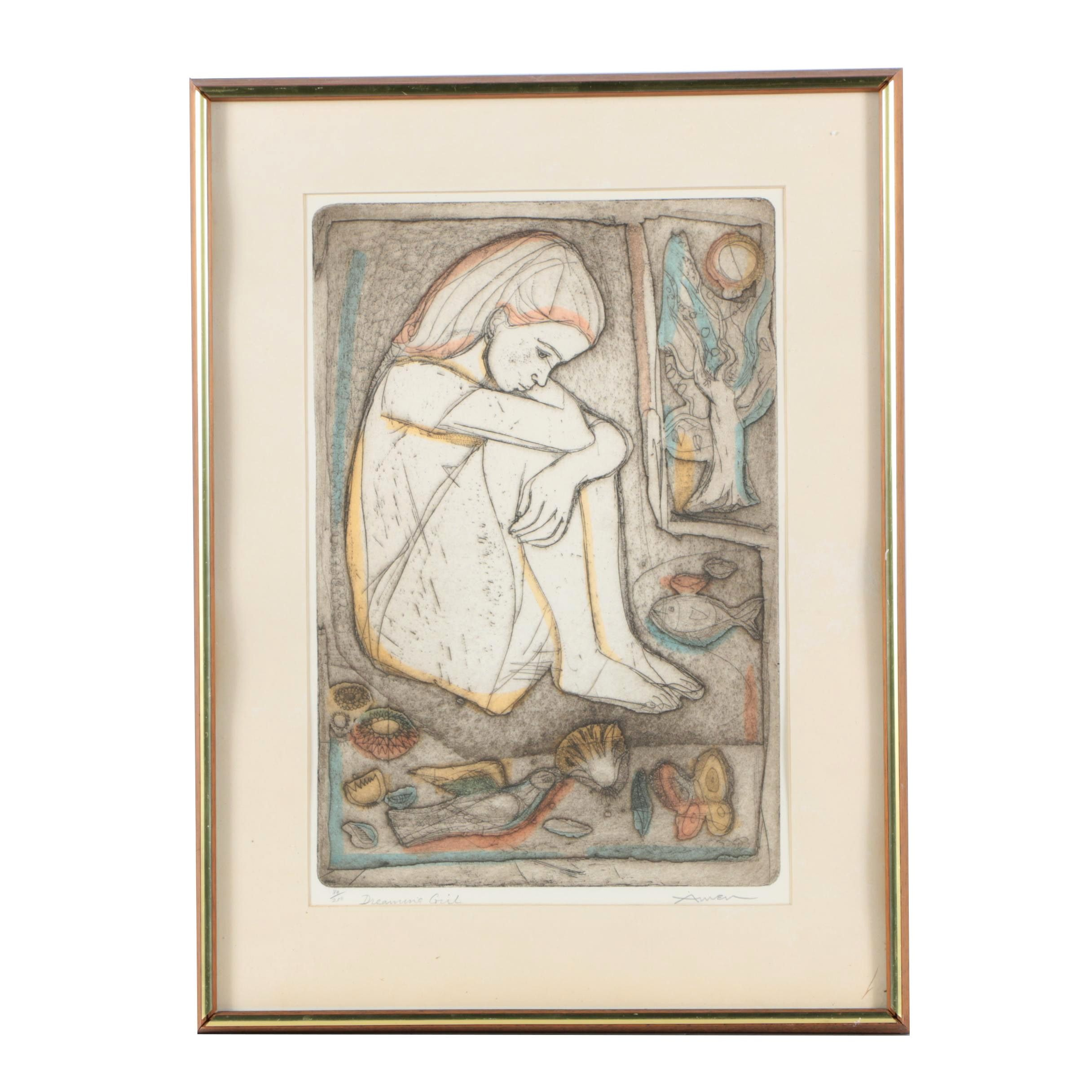 """Irving Amen Limited Edition Intaglio Print on Paper """"Dreaming Girl"""""""