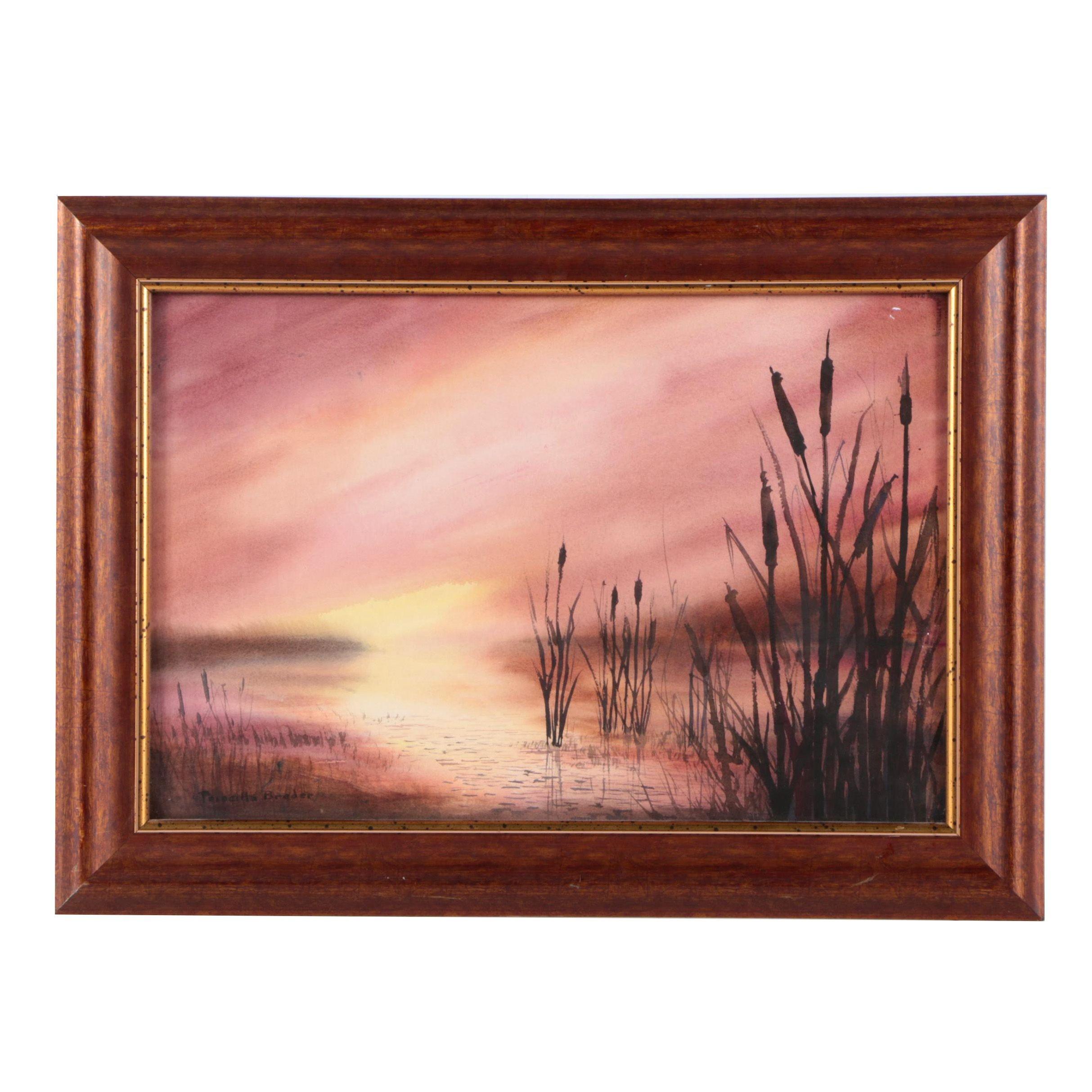 Priscilla Breder Watercolor on Paper of a Sunset Landscape