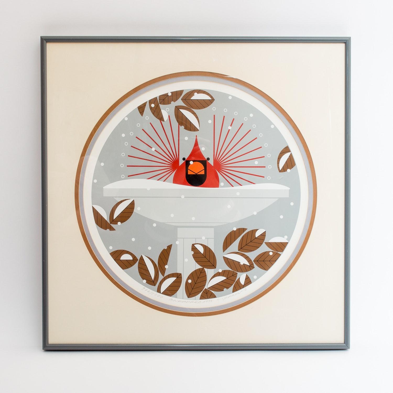 "Charley Harper Limited Edition Serigraph ""Brrrrrdbath"""