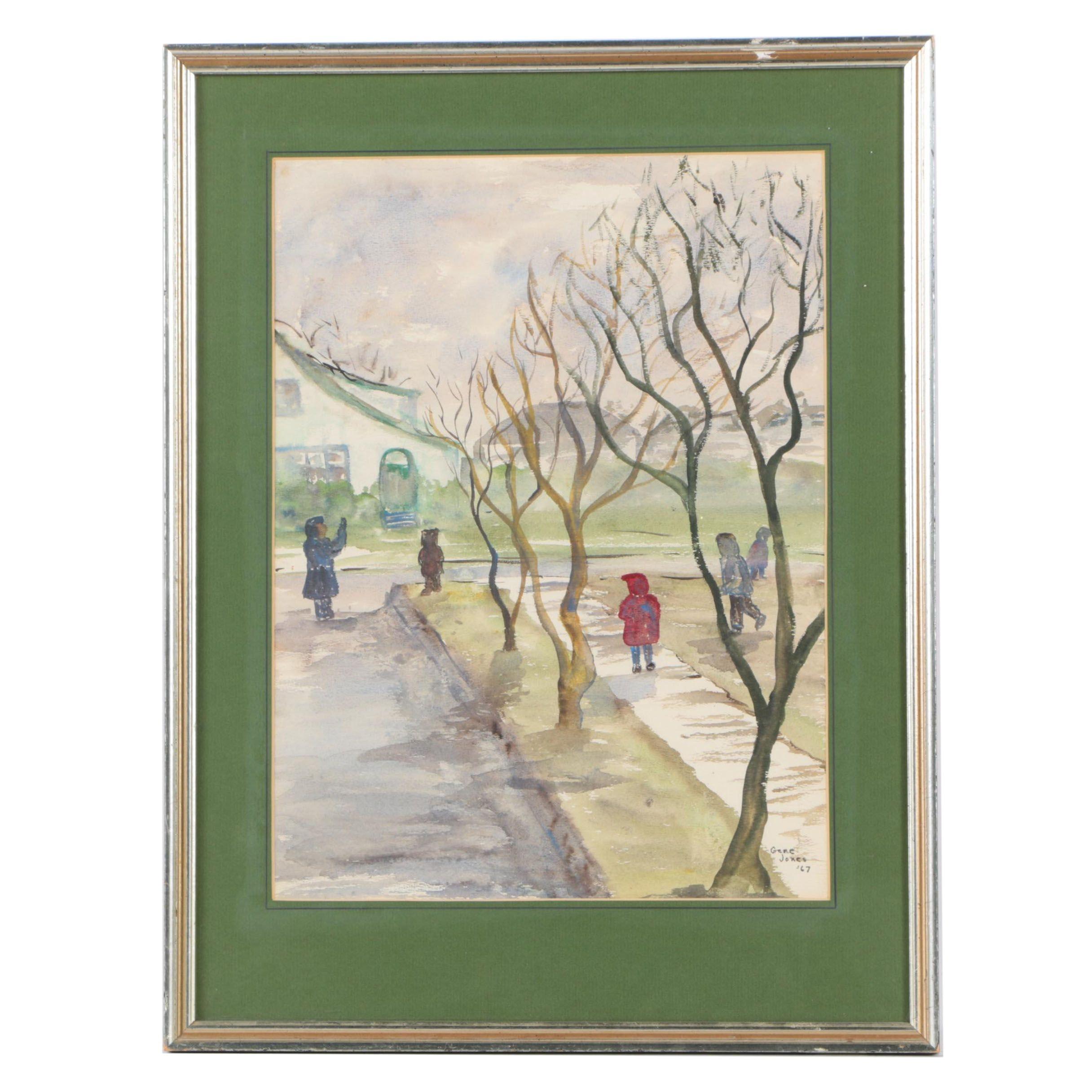 Gene Jones Watercolor Painting on Paper of Street Scene