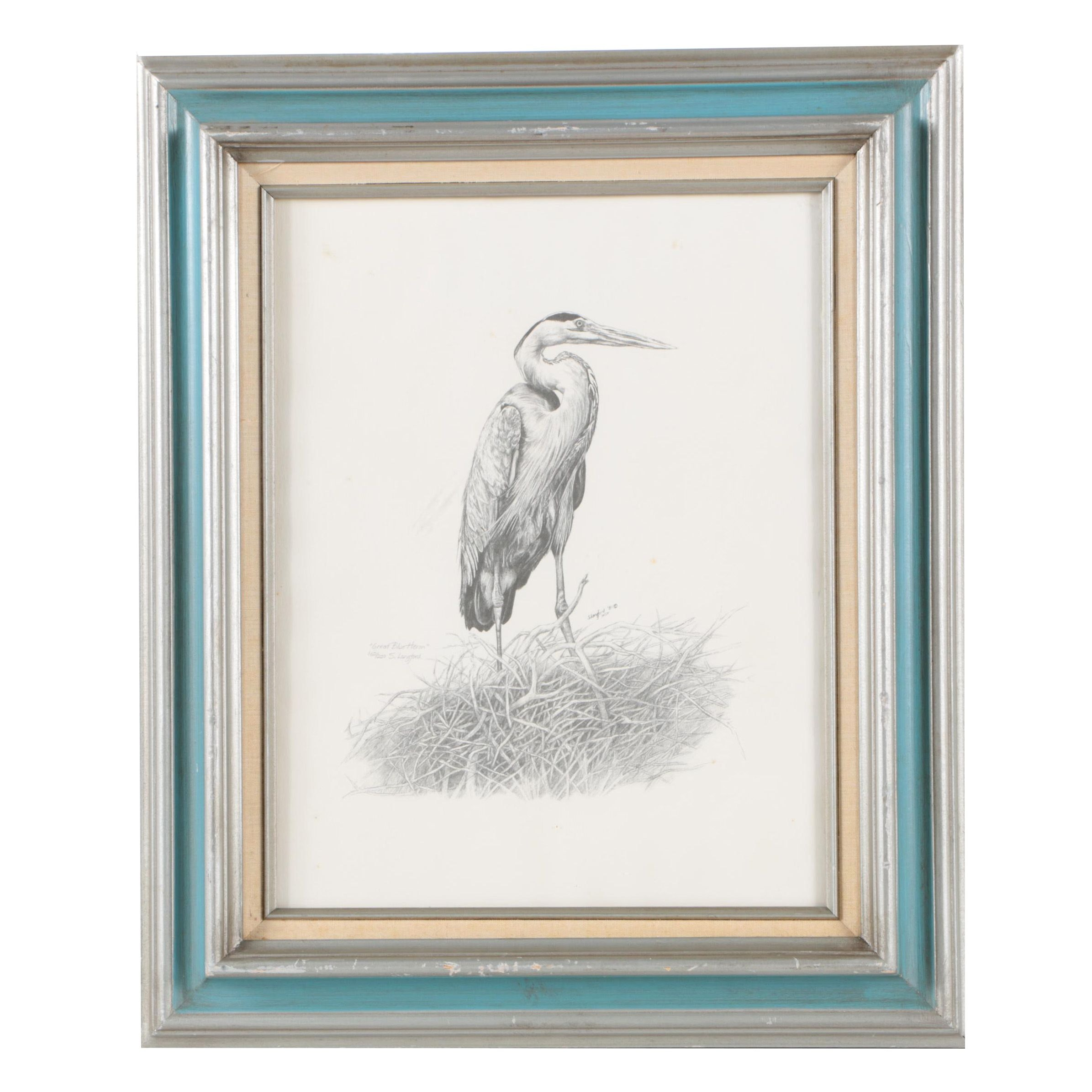 """Sherry Langford Limited Edition Reproduction Print on Paper """"Great Blue Heron"""""""