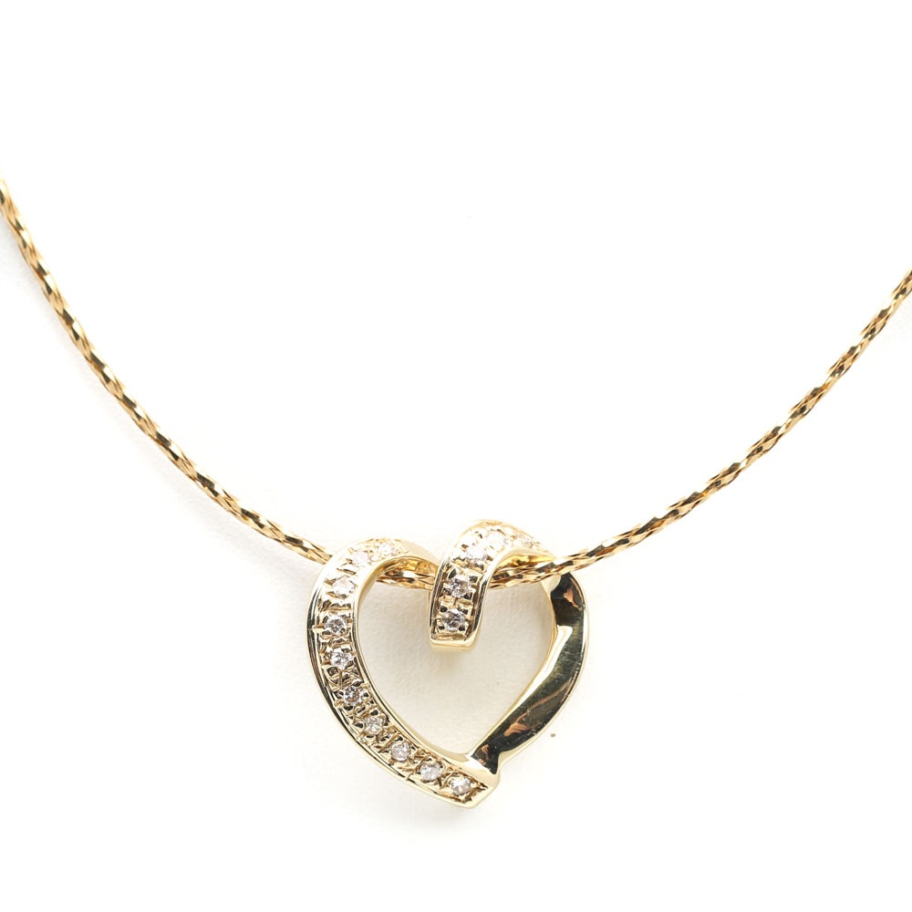 14K Yellow Gold Twisted Chain with an Open Diamond Heart Pendant
