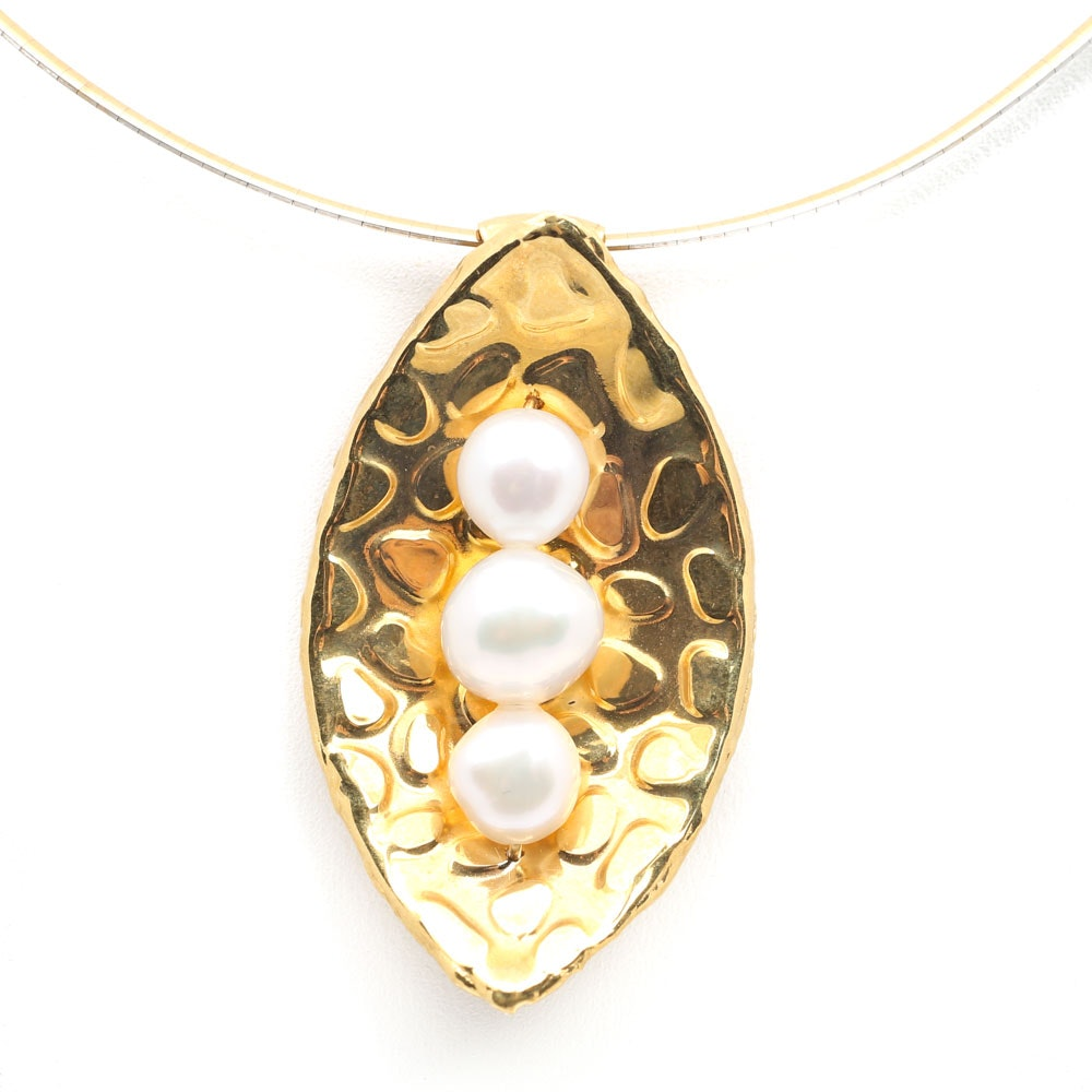 18K Yellow Gold Freshwater Pearl Pendant on a 14K Two-Tone Gold Omega Chain