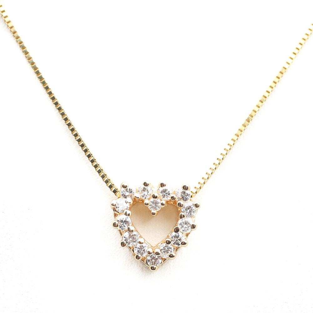 14K Yellow Gold Open Diamond Heart Pendant