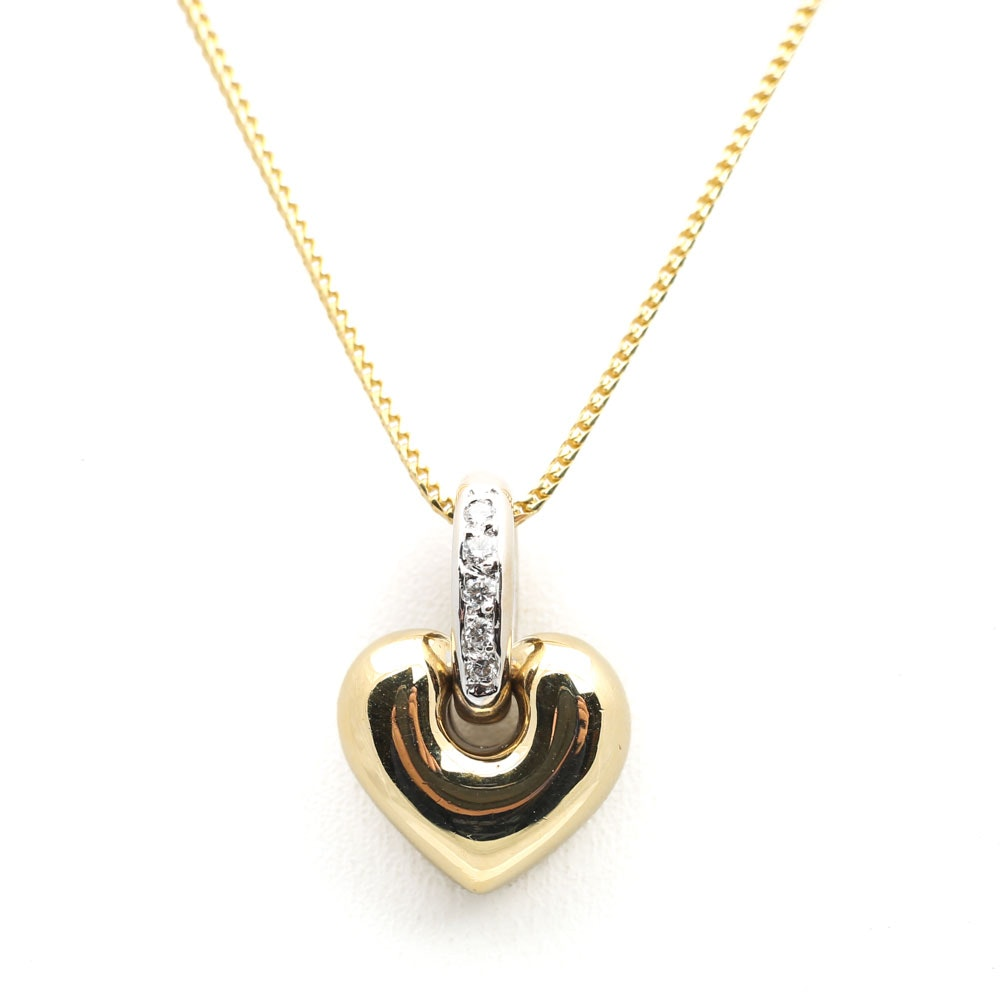 18K Two-Tone Gold Diamond Heart on a 14K Yellow Gold Chain