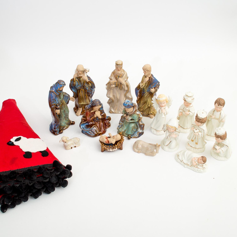 Assortment of Nativity Scenes and Christmas Decor