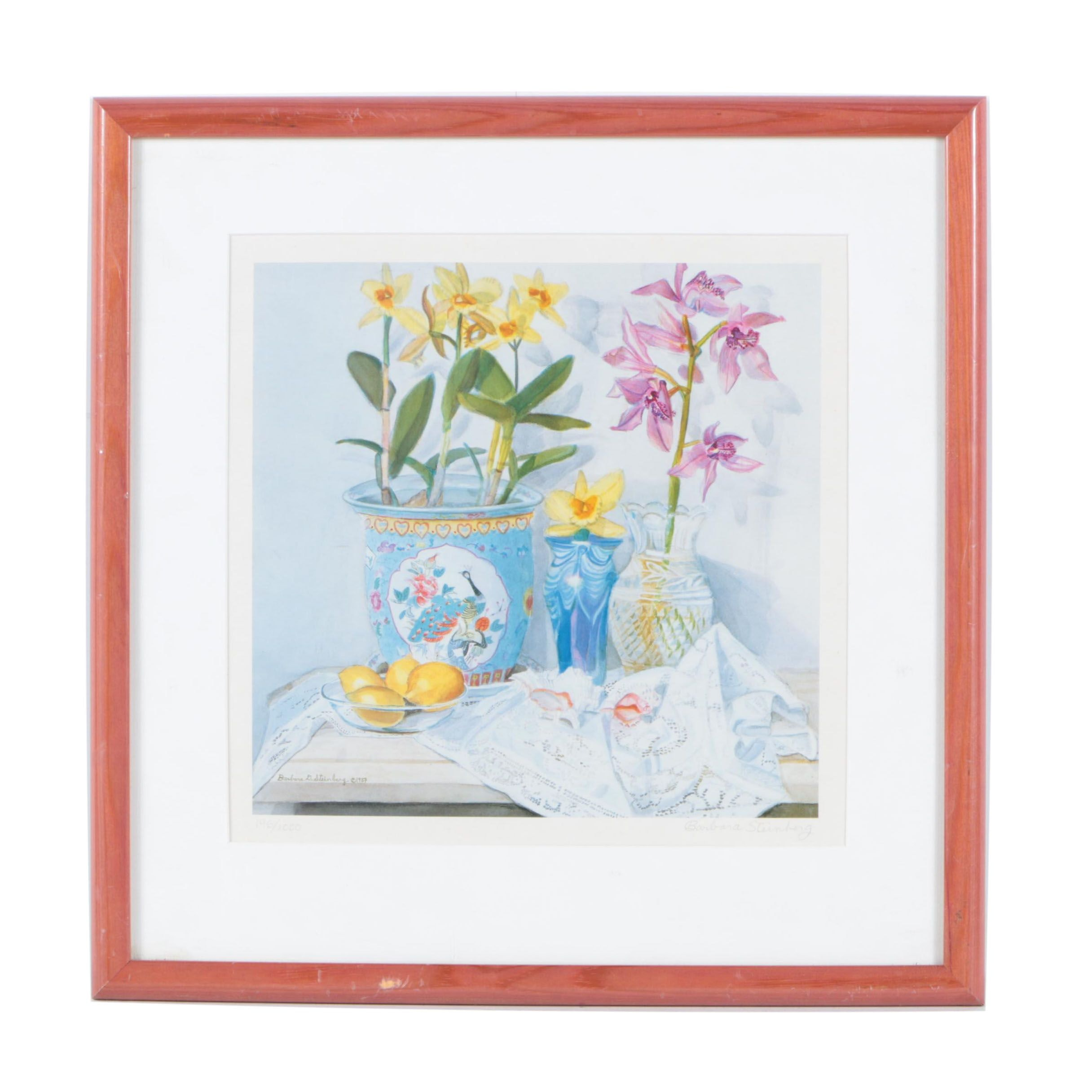 "Barbara Steinberg Limited Edition Offset Lithograph ""Orchids, Lemons, and Lace"""