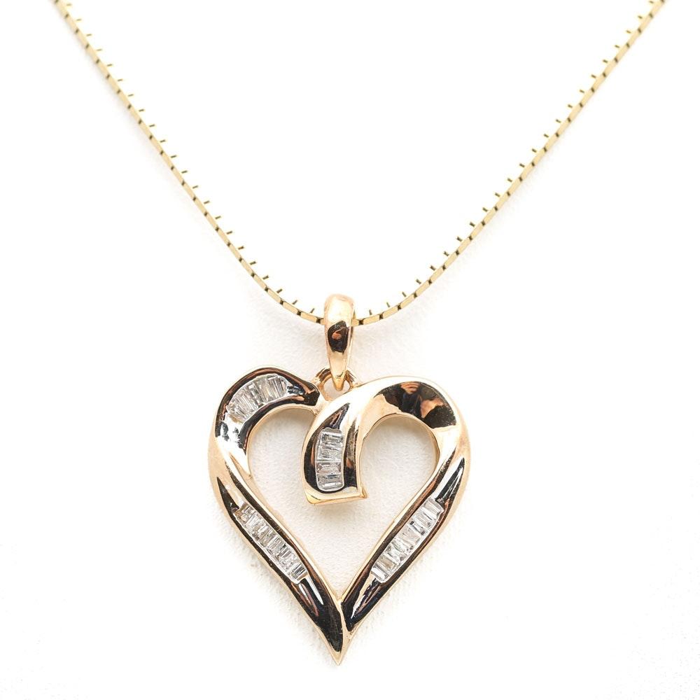 14K Yellow Gold Diamond Baguette Open Heart Pendant
