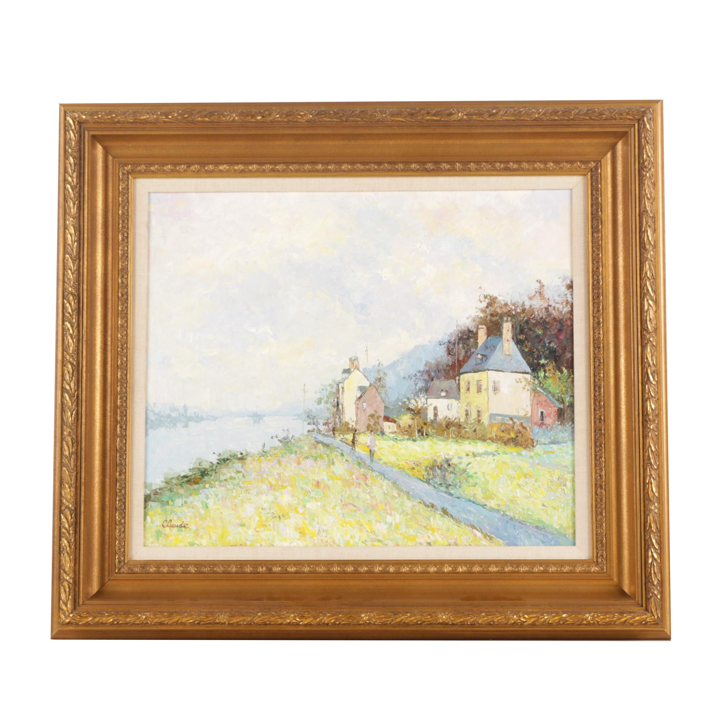 Claude Oil Painting on Canvas Riverside Village