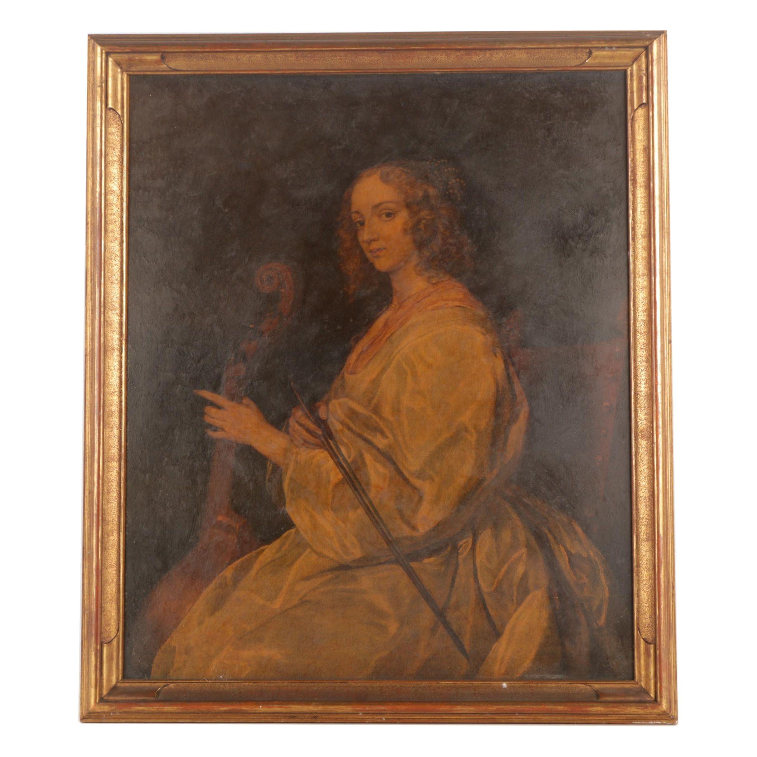 Embellished Giclee on Paperboard After Anthony van Dyck Portrait
