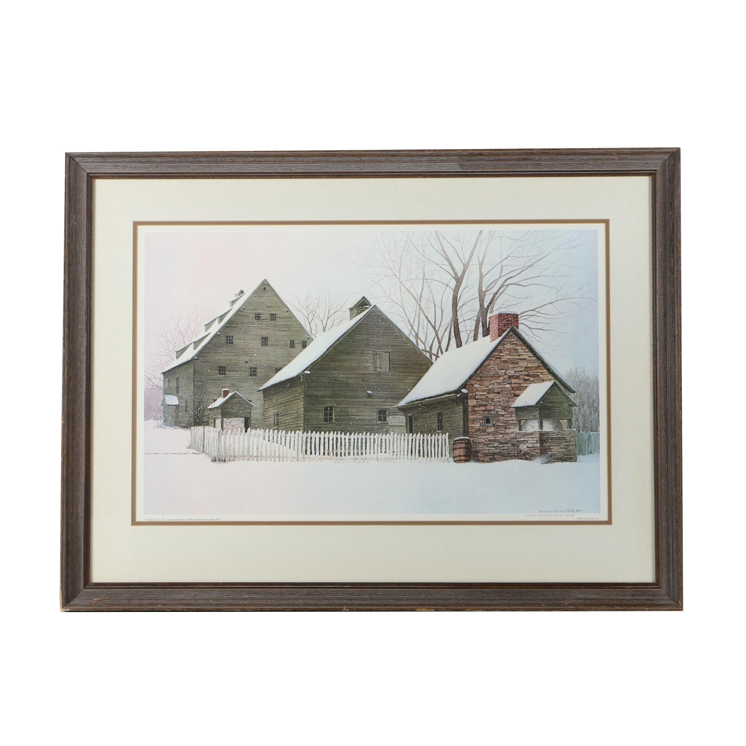 Mildred Sands Kratz 1978 Limited Edition Print of Barns in Winter Landscape