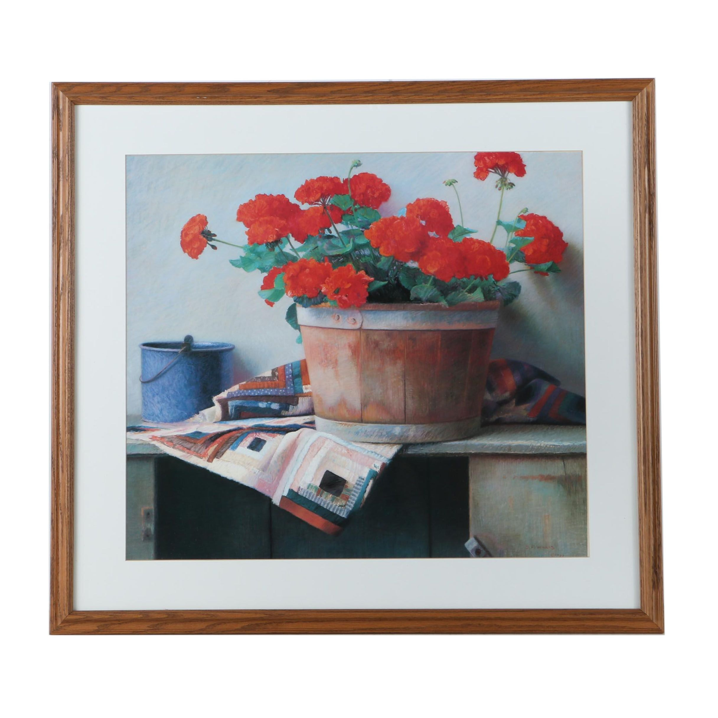 Offset Lithograph After S. F. Willis of Floral Still Life