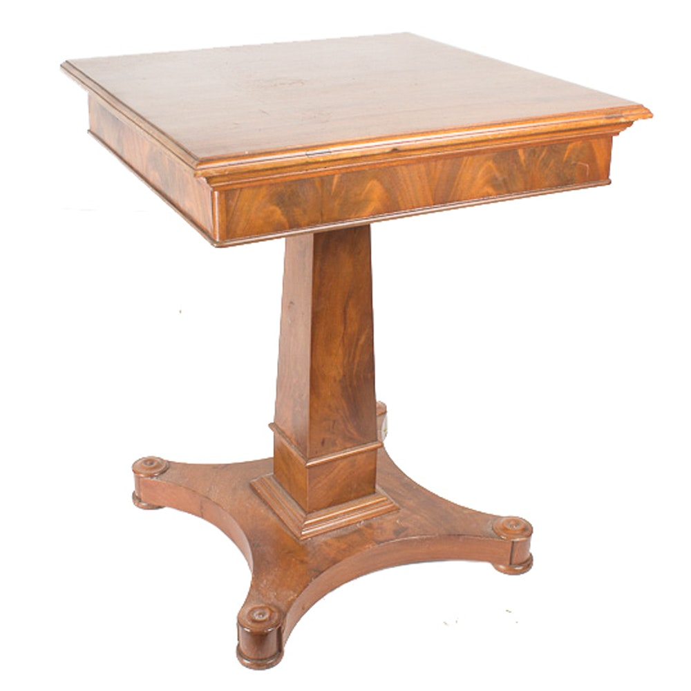 Empire Style Walnut Pedestal End Table