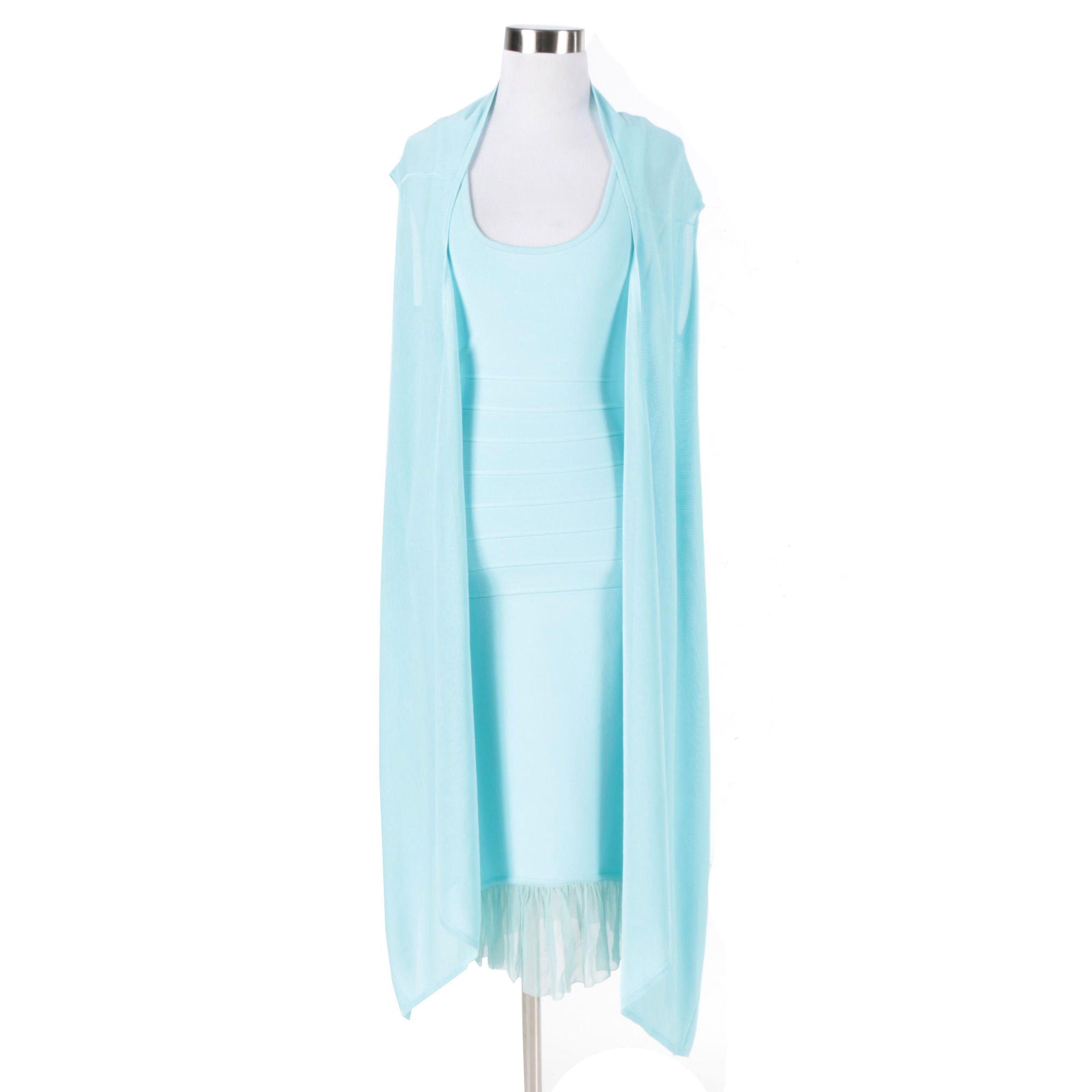 Herve Leger Paris Light Aqua Blue Knit Dress Set