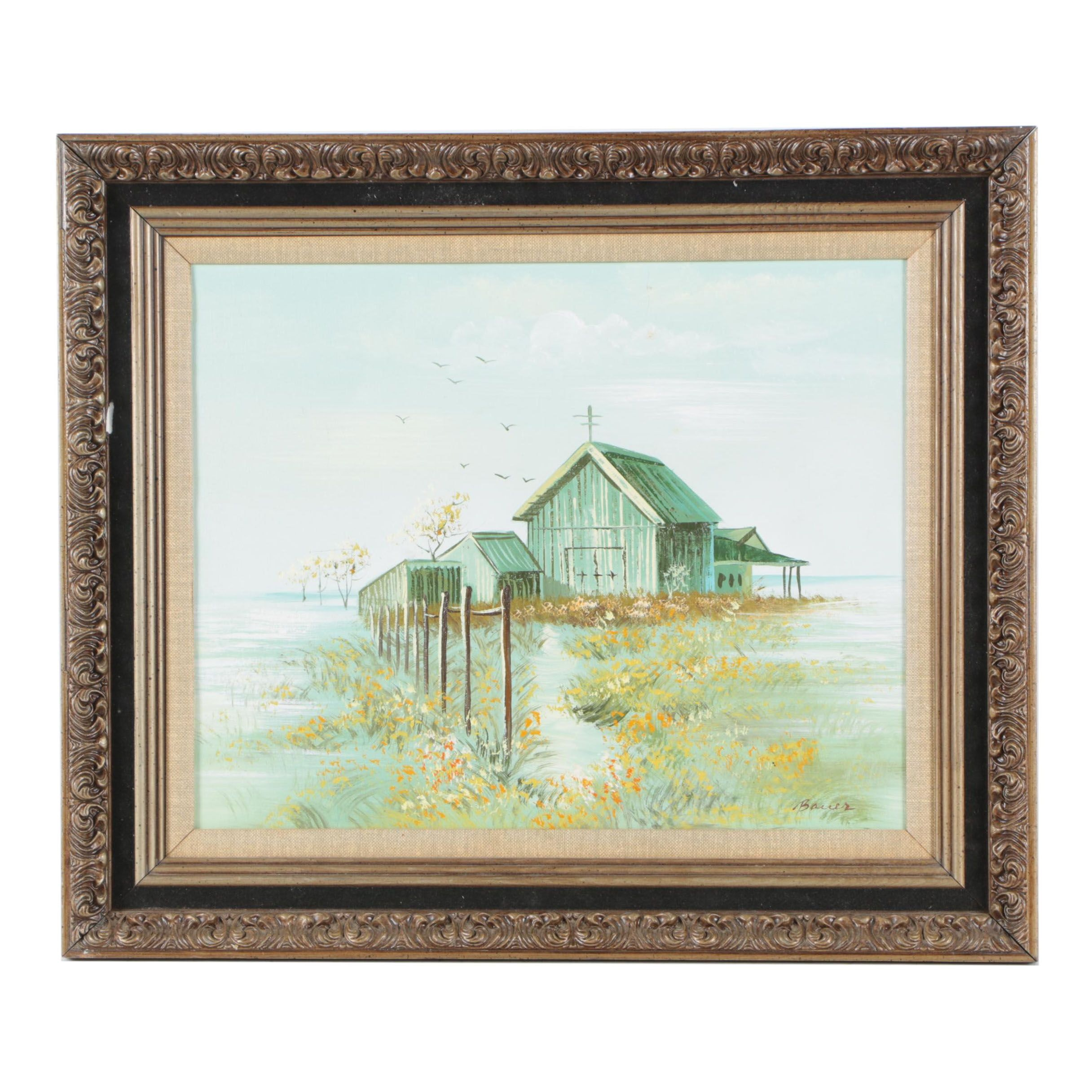Bauer Oil Painting on Canvas of a Barn