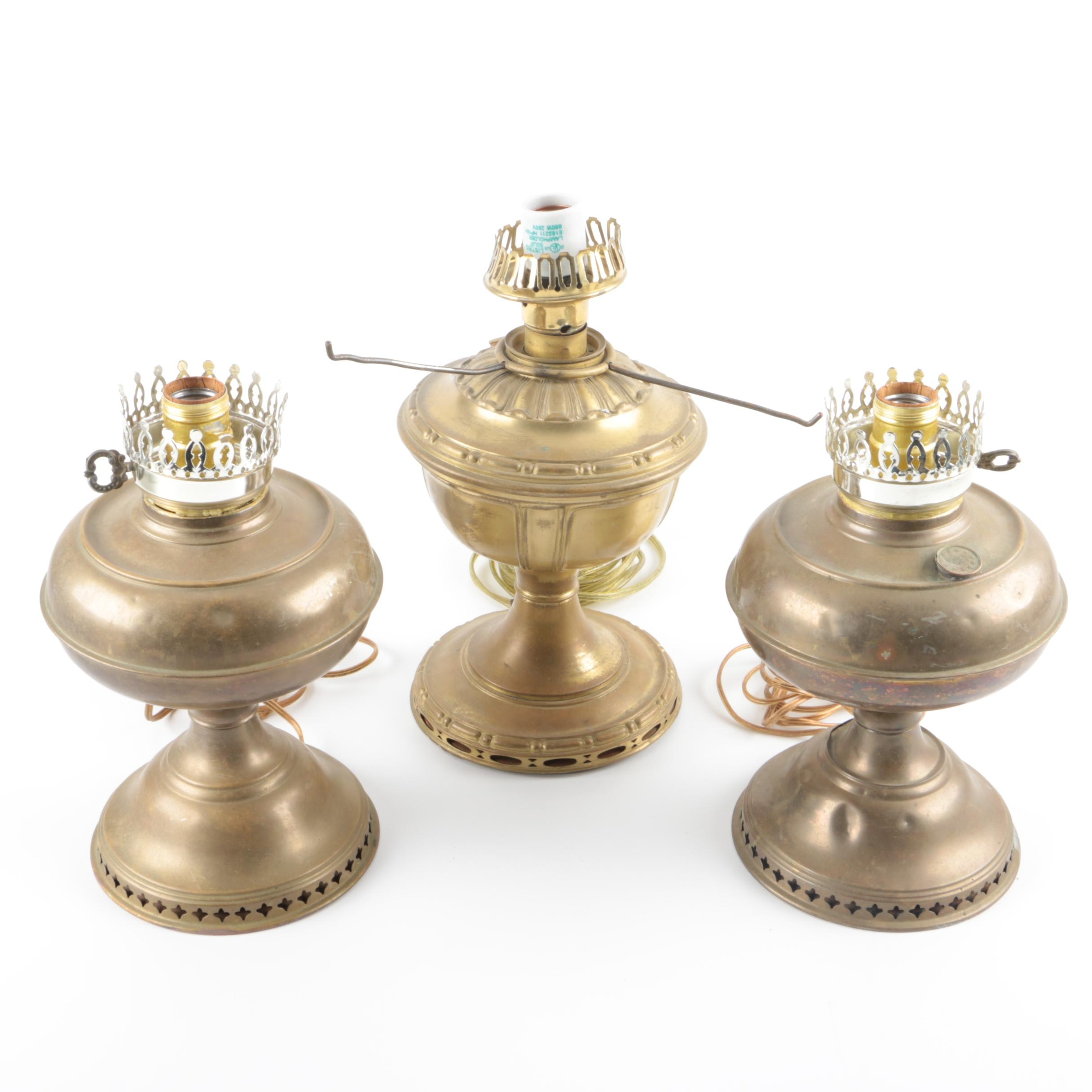 Electrified Vintage Brass Oil Lamps : EBTH