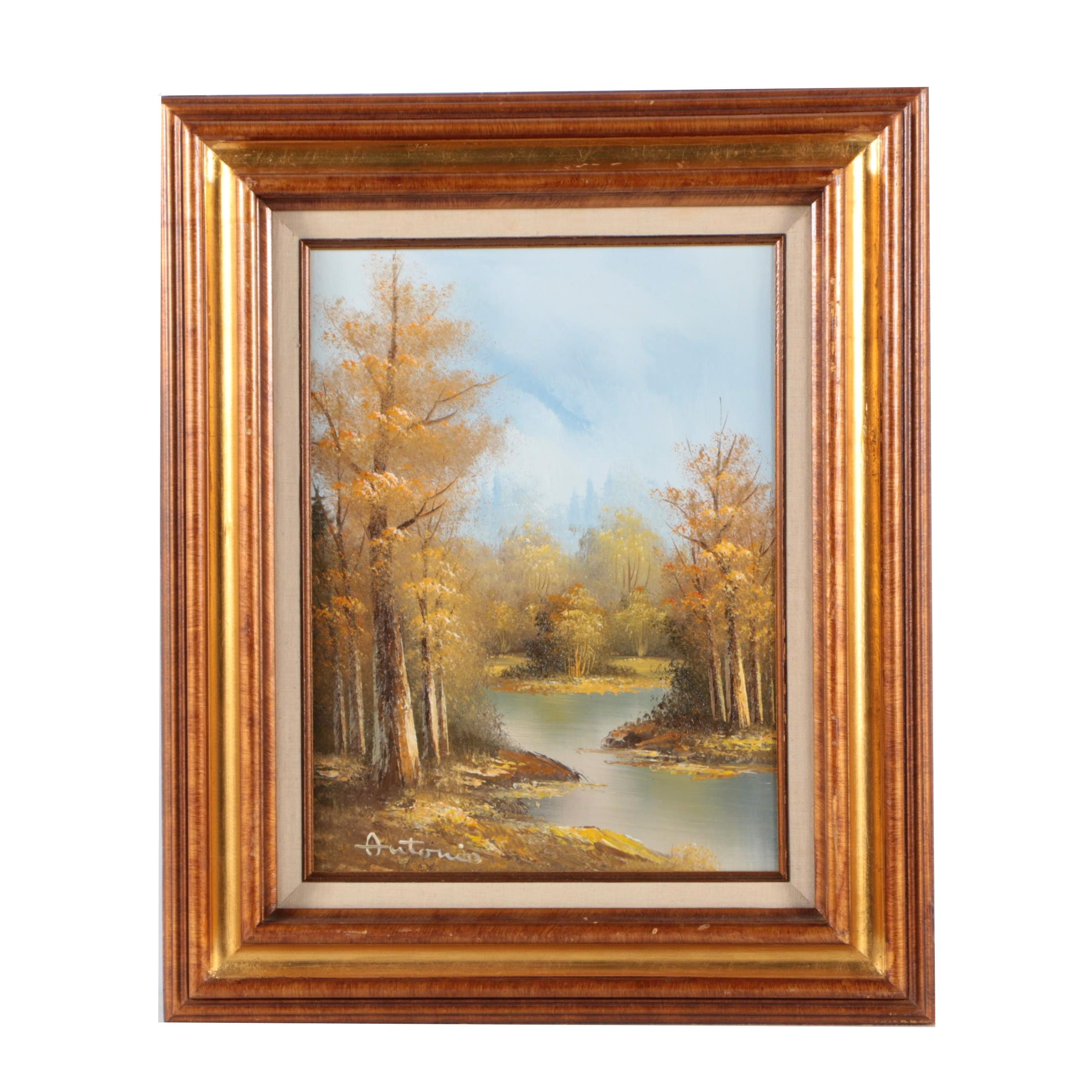 Oil Painting on Canvas Woodland Landscape