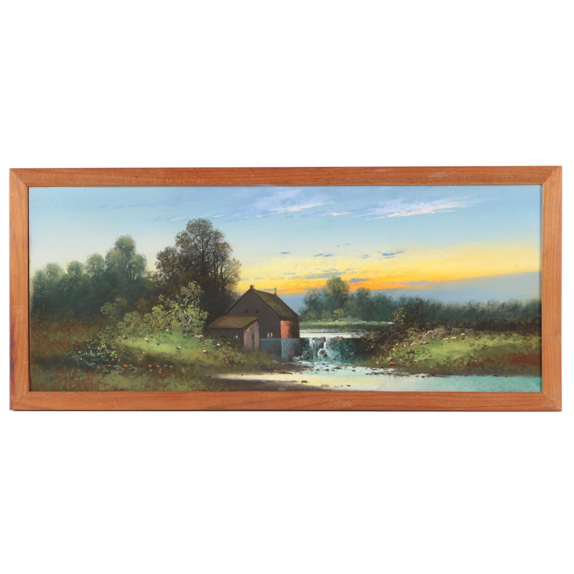 Pastel Drawing on Panel of a Rural Scene