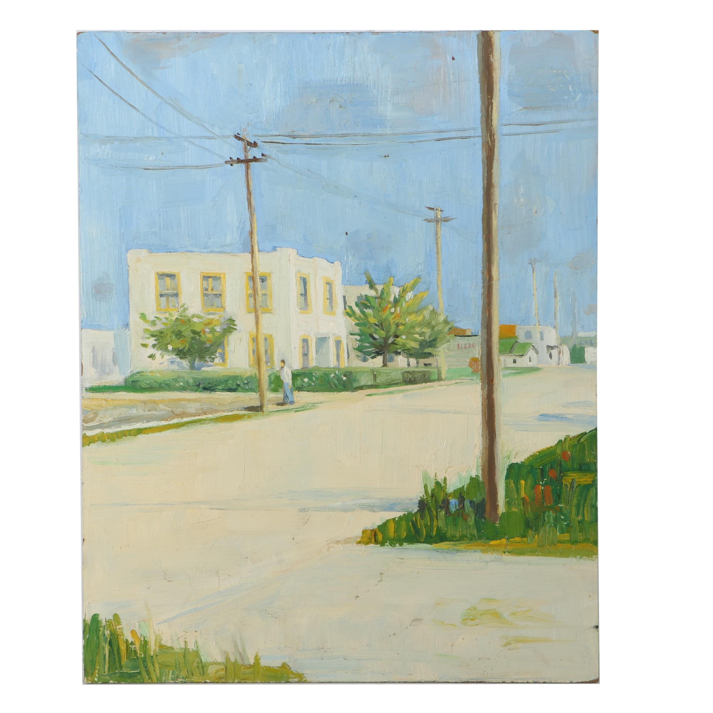 Oil Painting on Board of a City Street View