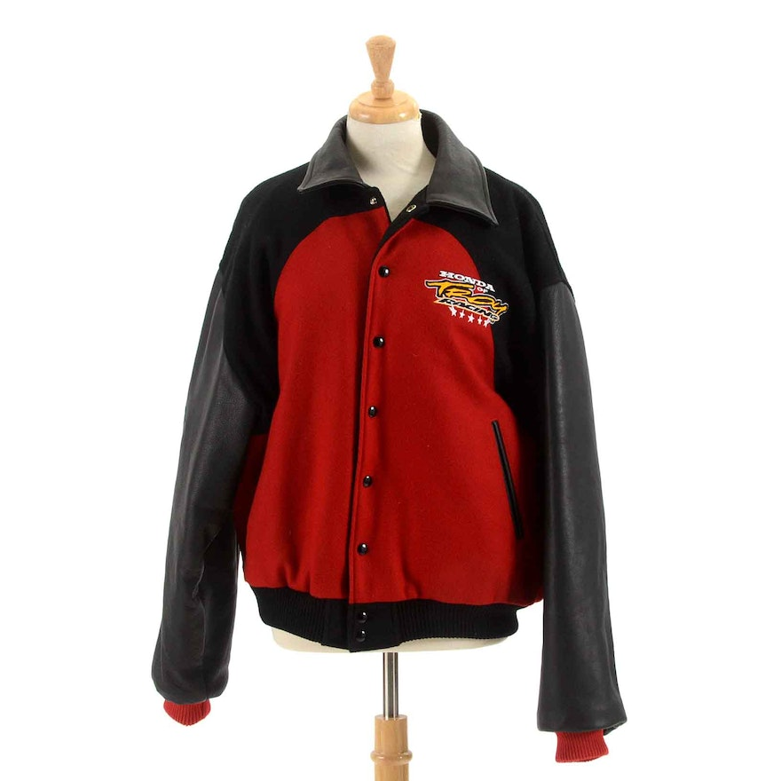Jacket Letterman Racing Honda Troy Team Of PXZO0wkN8n