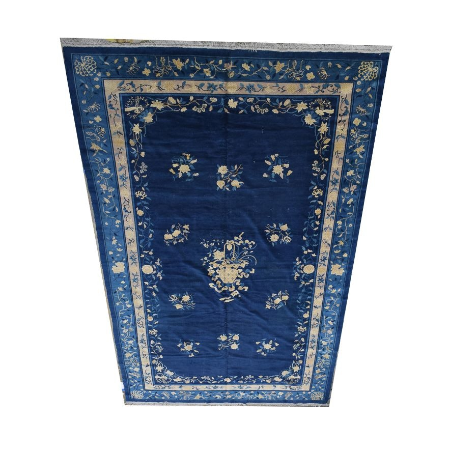 Large Semi-Antique Hand-Knotted Chinese Old Peking Area Rug