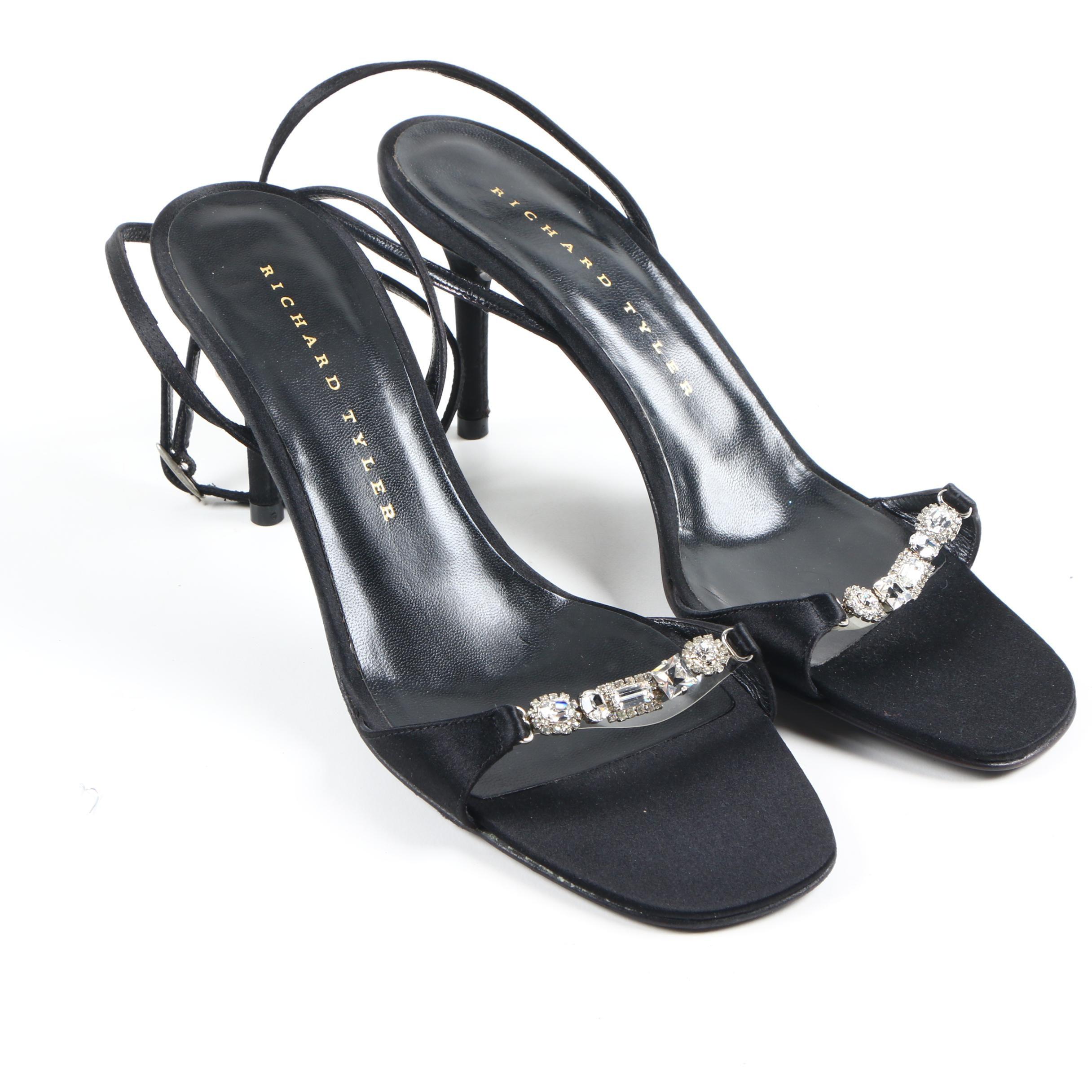Richard Tyler Embellished Satin Sandals
