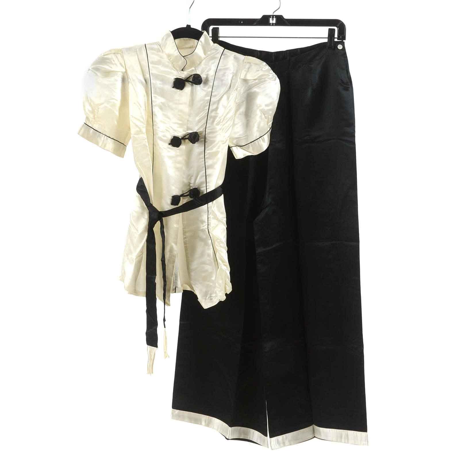 Vintage Black and White Silky Pajamas