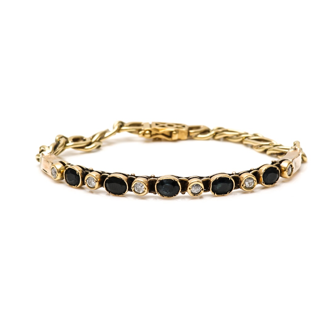 18K and 14K Yellow Gold Black Sapphire and Diamond Bracelet