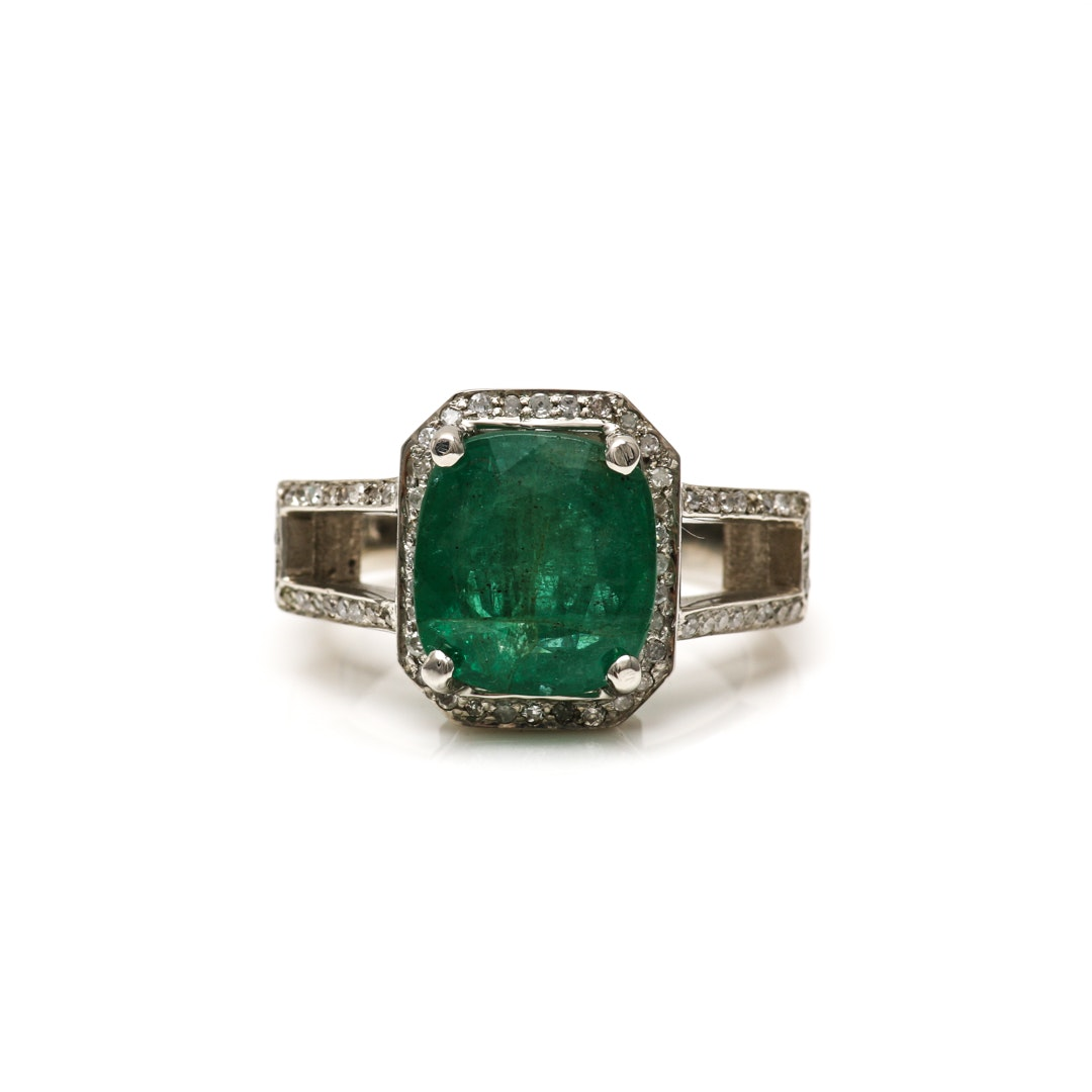 14K White Gold 3.54 CT Emerald and Diamond Ring