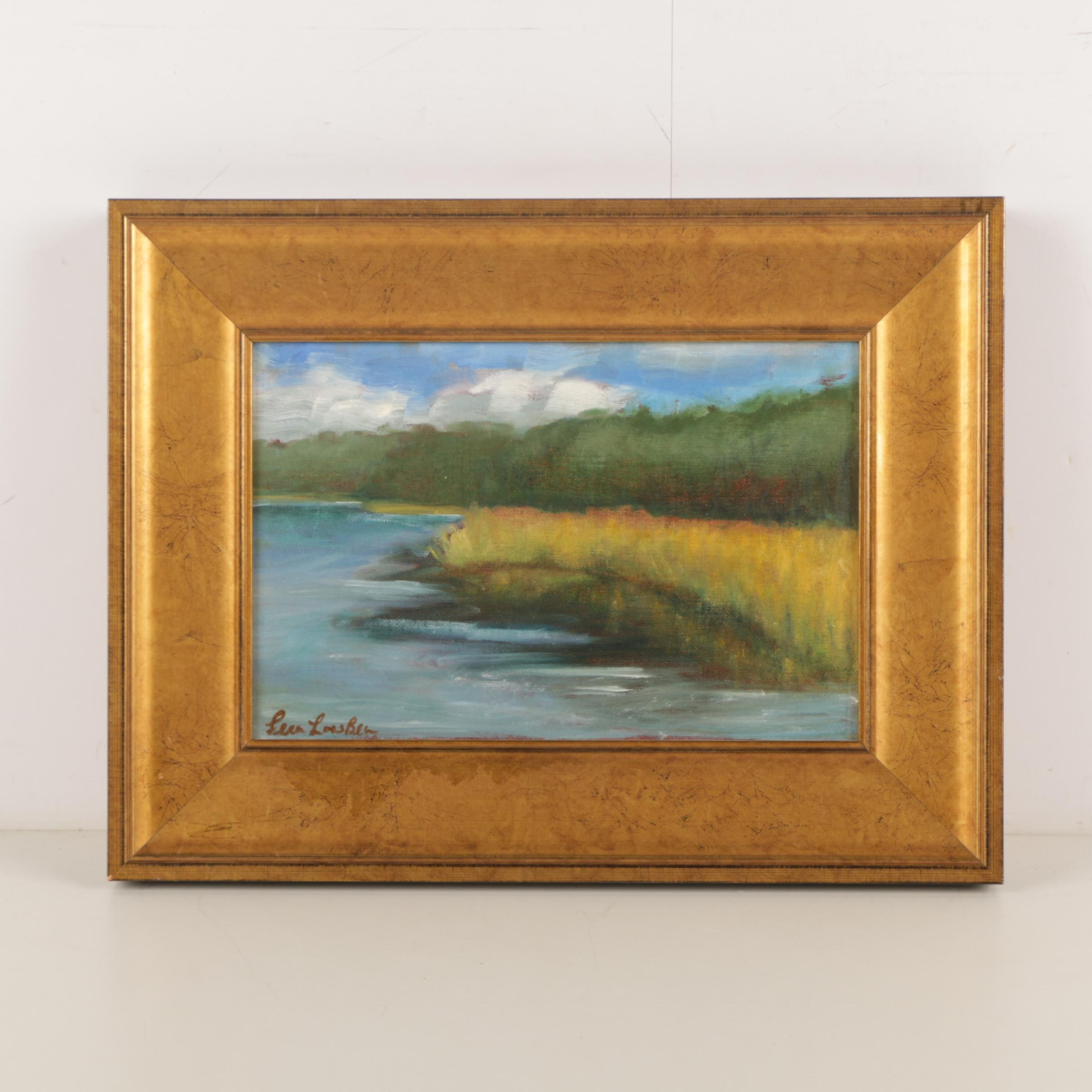 Oil Painting on Wood Panel of a Marshy Landscape