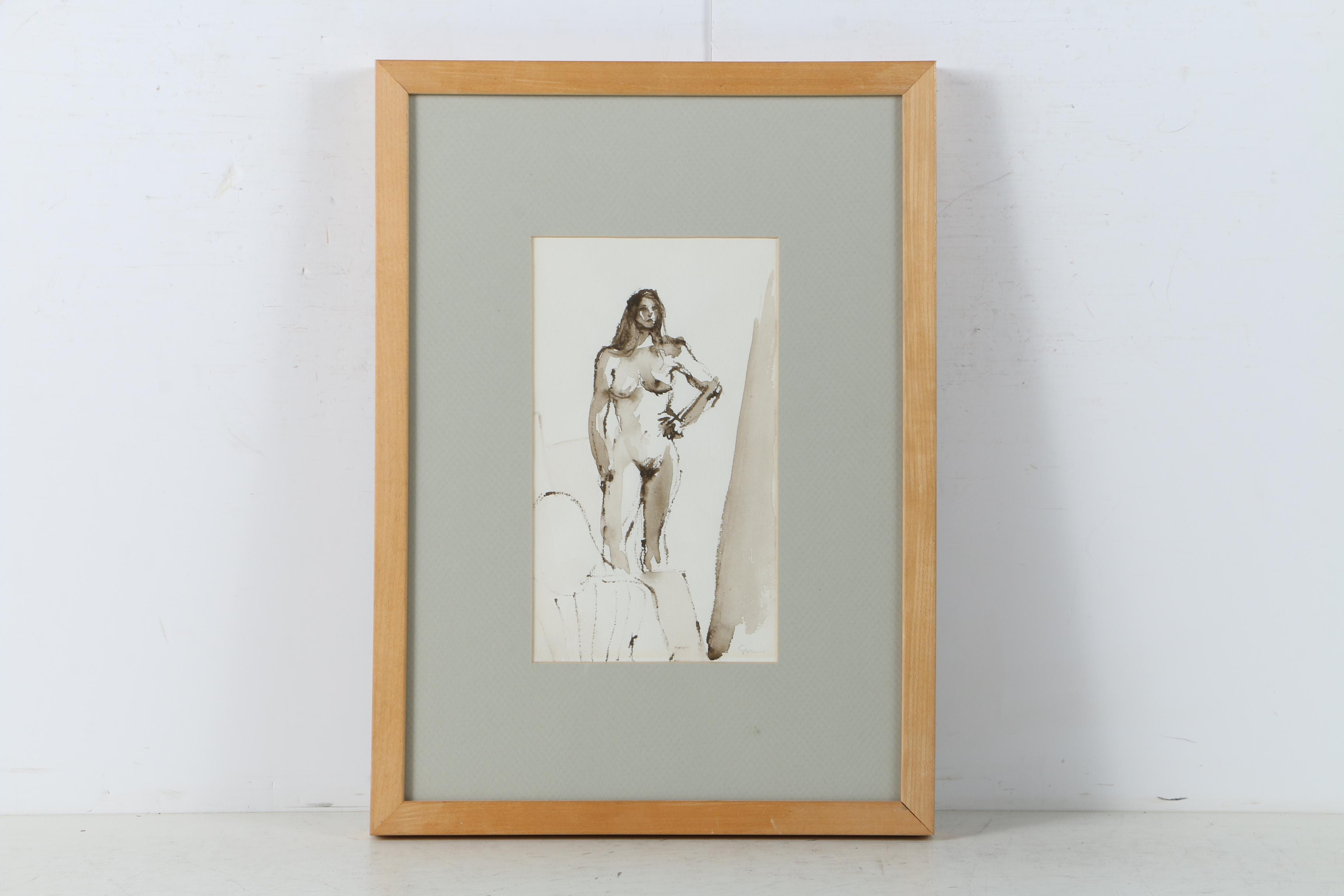 Watercolor on Paper of Nude Figure Study