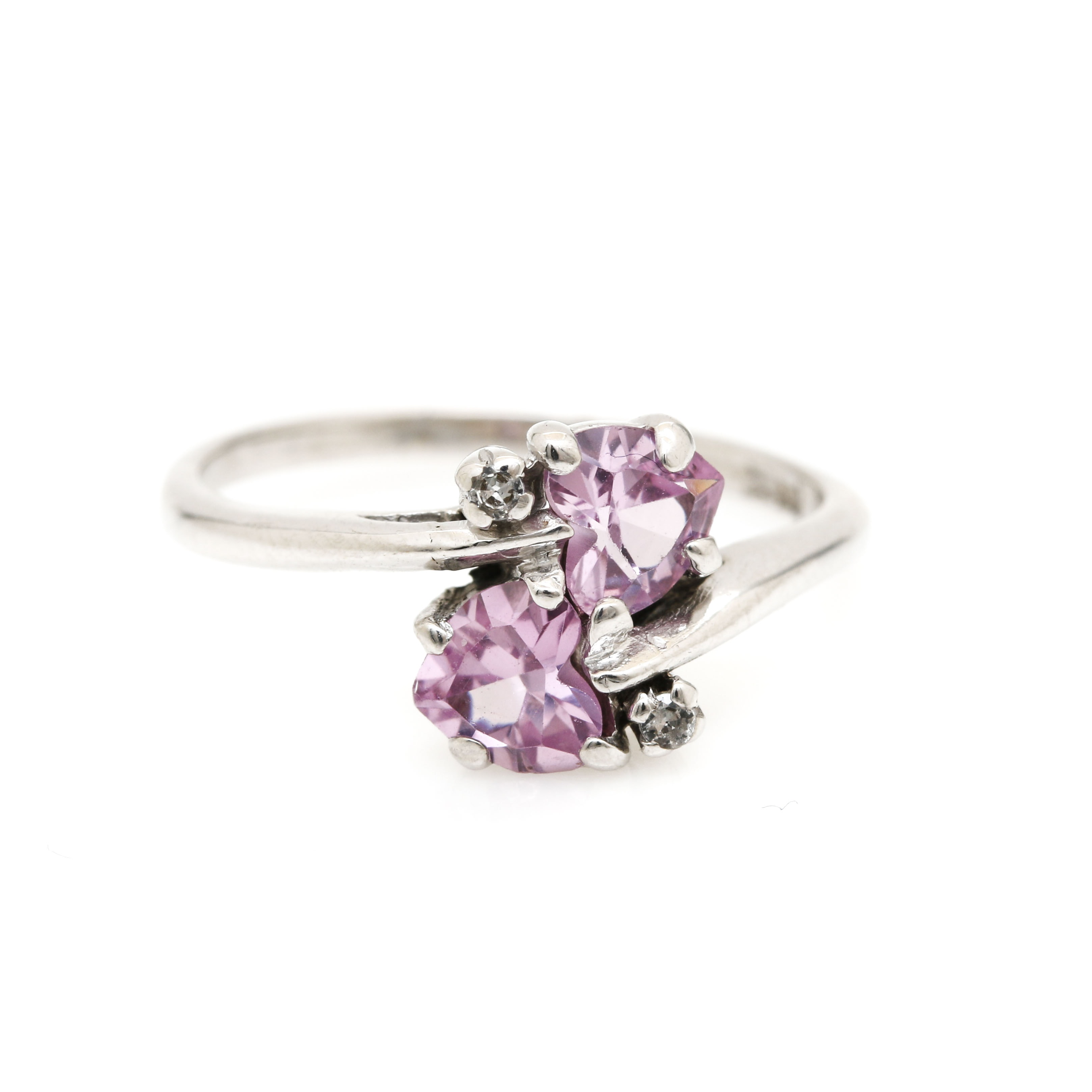10K White Gold Pink Sapphire and Spinel Bypass Ring