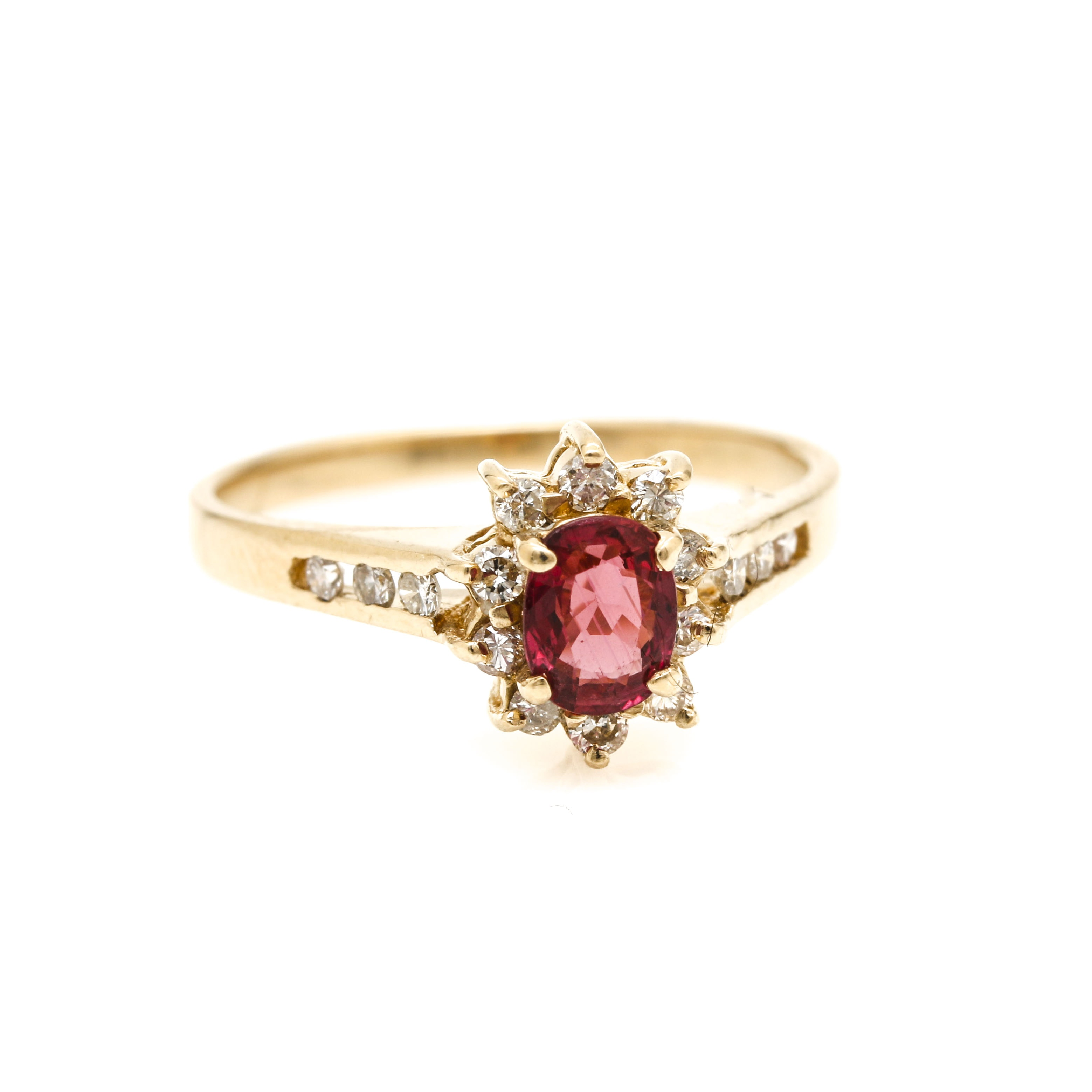 Effy 14K Yellow Gold Ruby and Diamond Ring