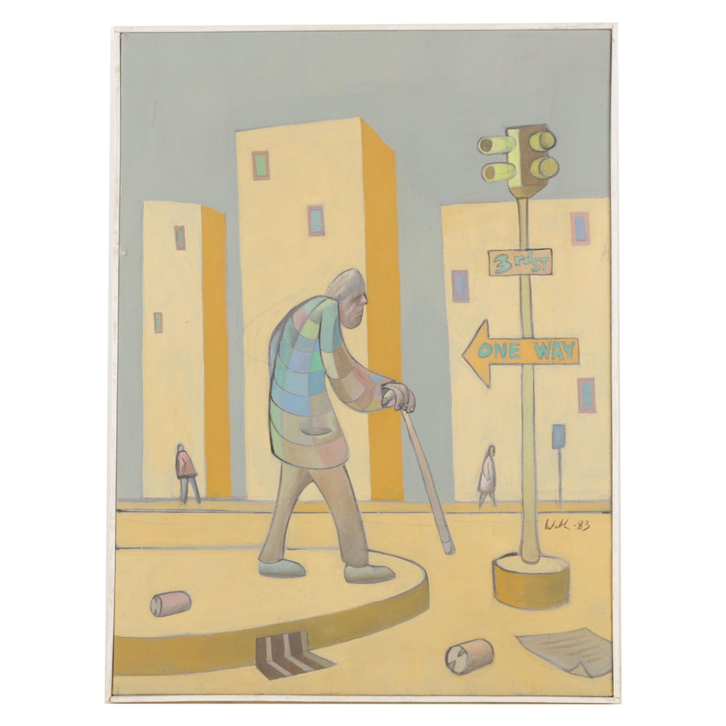 "David Walker Oil Painting on Canvas ""Old Man Walking"""