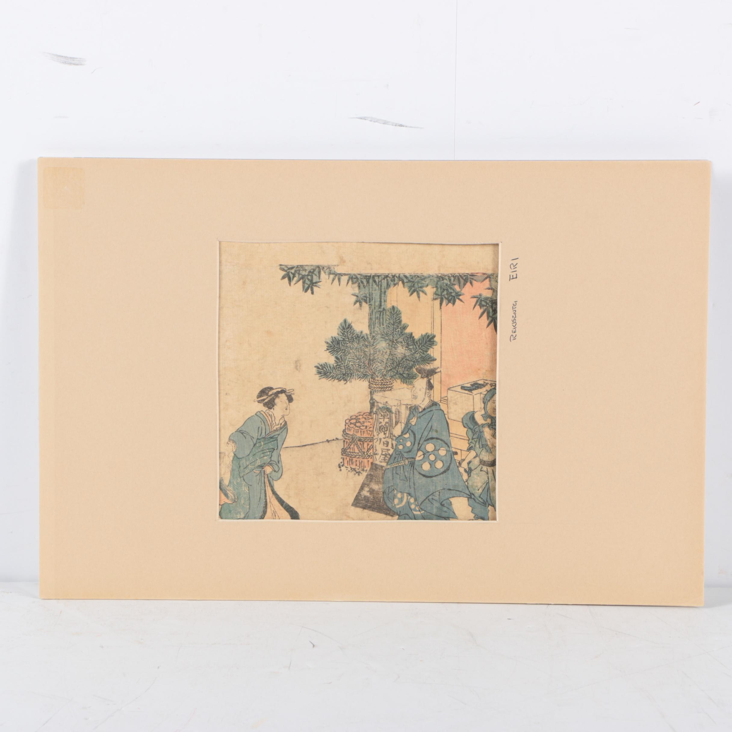 Antique Woodblock Print on Rice Paper Attributed to Rekisentei Eiri