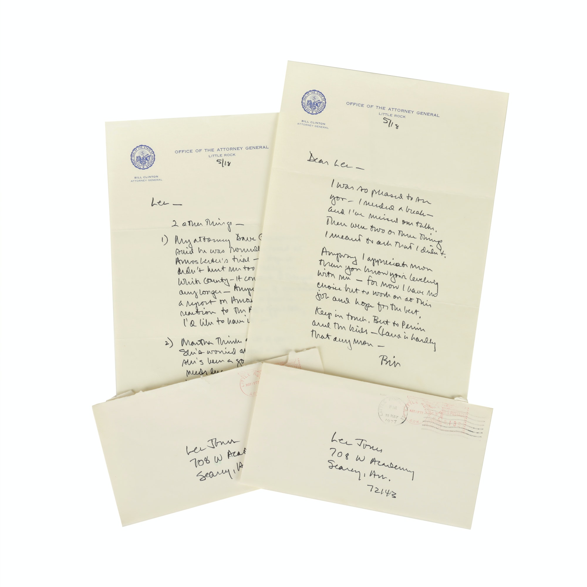 Handwritten Bill Clinton Letters, Postmarked 1977