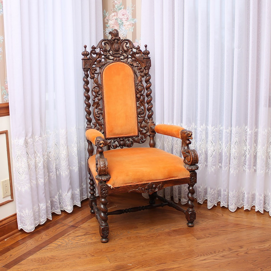 Antique Victorian Gothic Revival Style Oak Hall Chair ... - Antique Victorian Gothic Revival Style Oak Hall Chair : EBTH