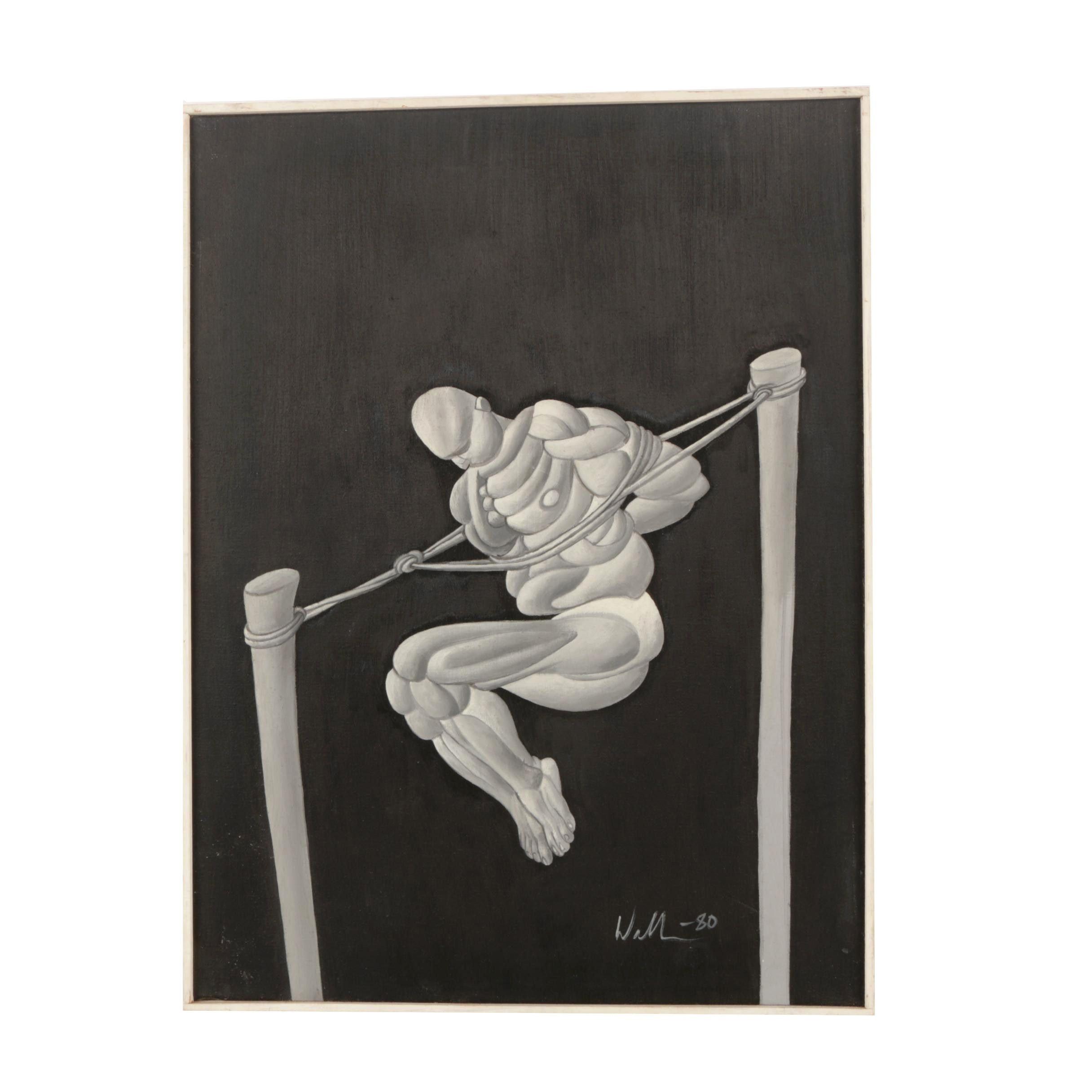 "David Walker Oil on Canvas ""Bound Figure"""